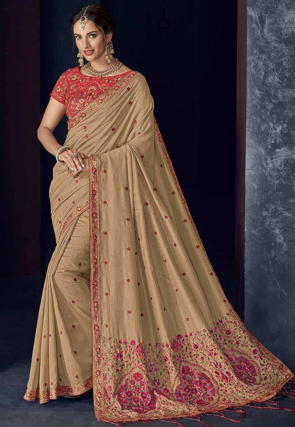 Brown Colour Designer Saree.