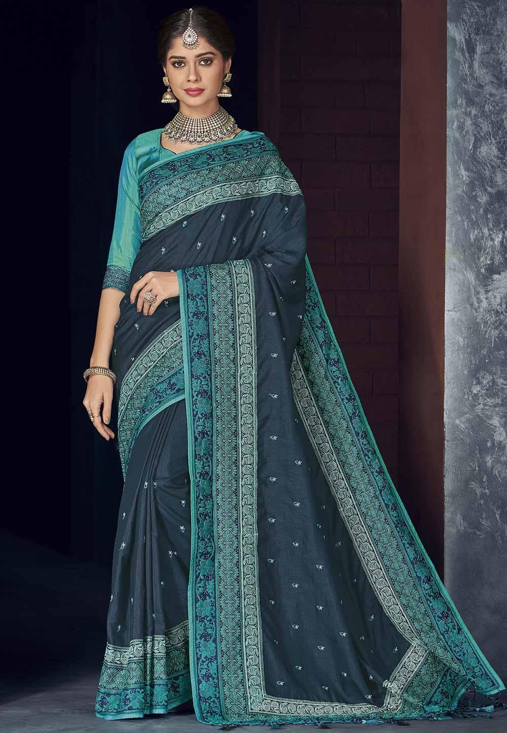 Silk Party Wear Saree Blue Colour.
