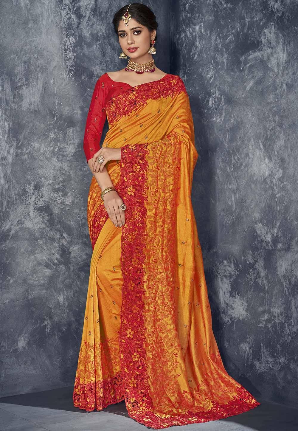 Orange Colour Indian Designer Sari.