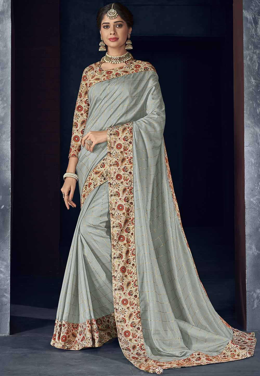 Grey Colour Saree.
