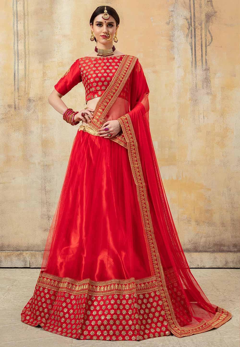 Red Colour Designer Bridal Lehenga Choli.