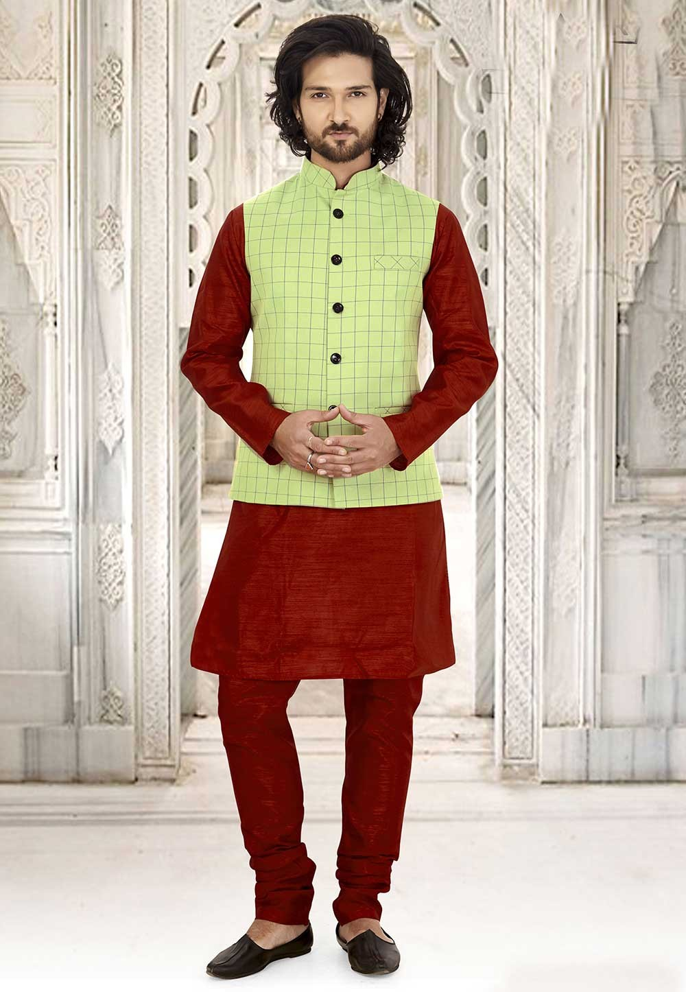 Maroon,Green Colour Kurta Pajama Jacket.