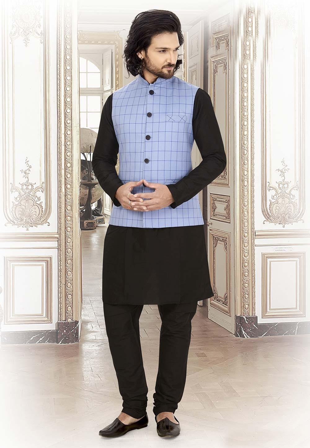 Silk,Cotton Kurta Pajama Black,Blue Colour.