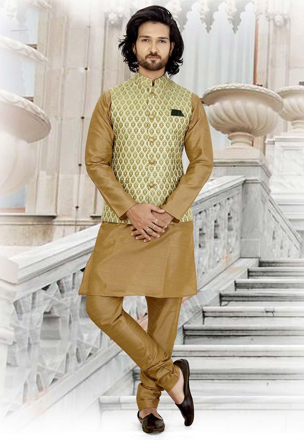 Beige,Green Colour Designer Kurta Pajama.
