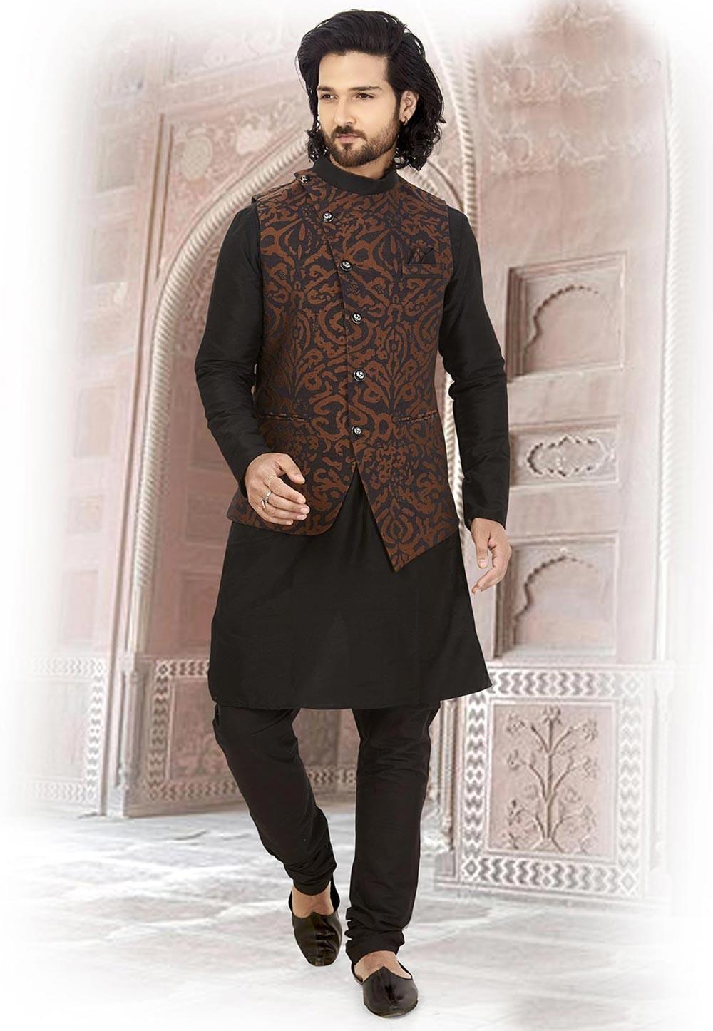 Black,Brown Colour Silk Kurta Pajama.