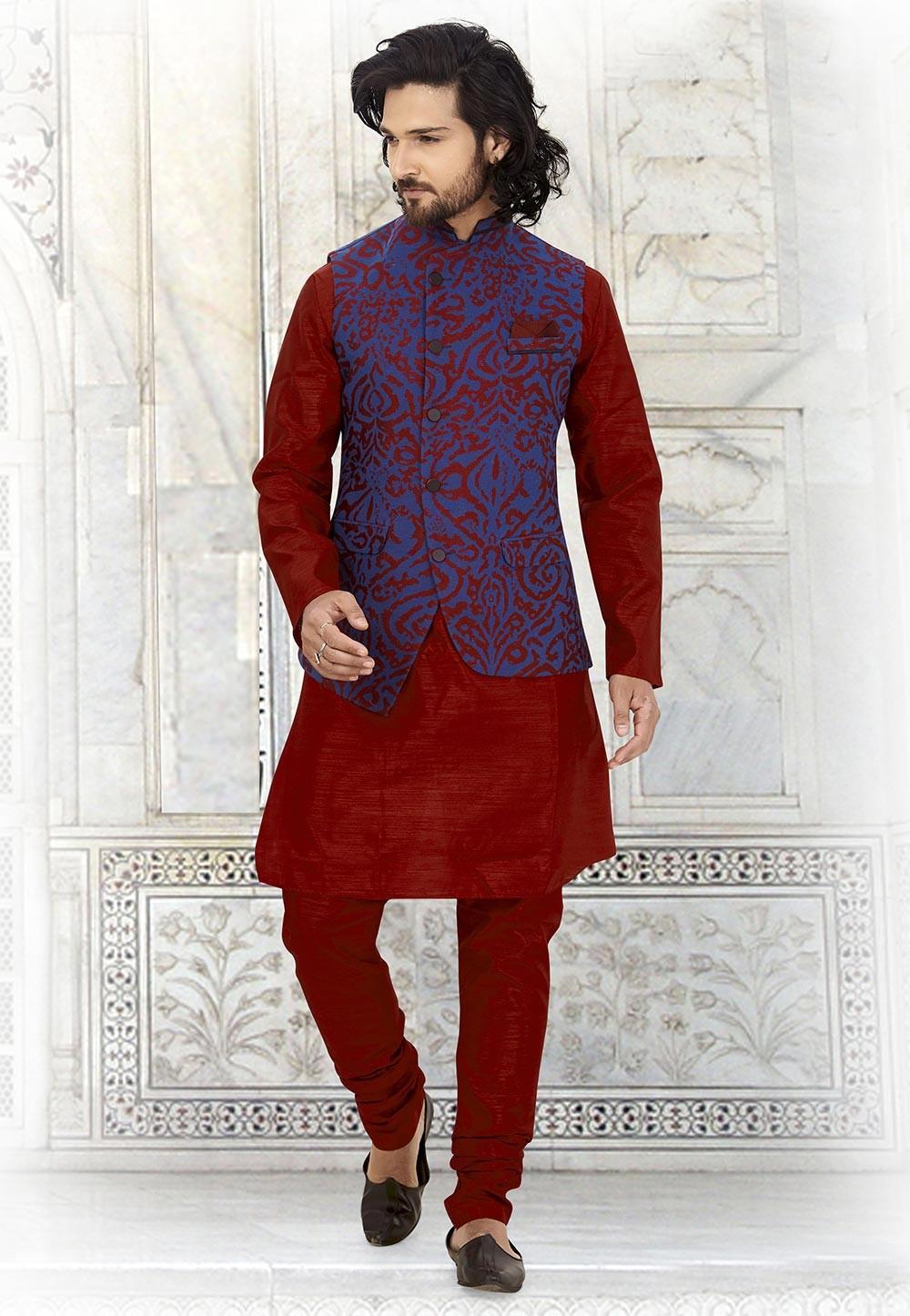 Maroon,Blue Colour Indian Designer Kurta Pajama.