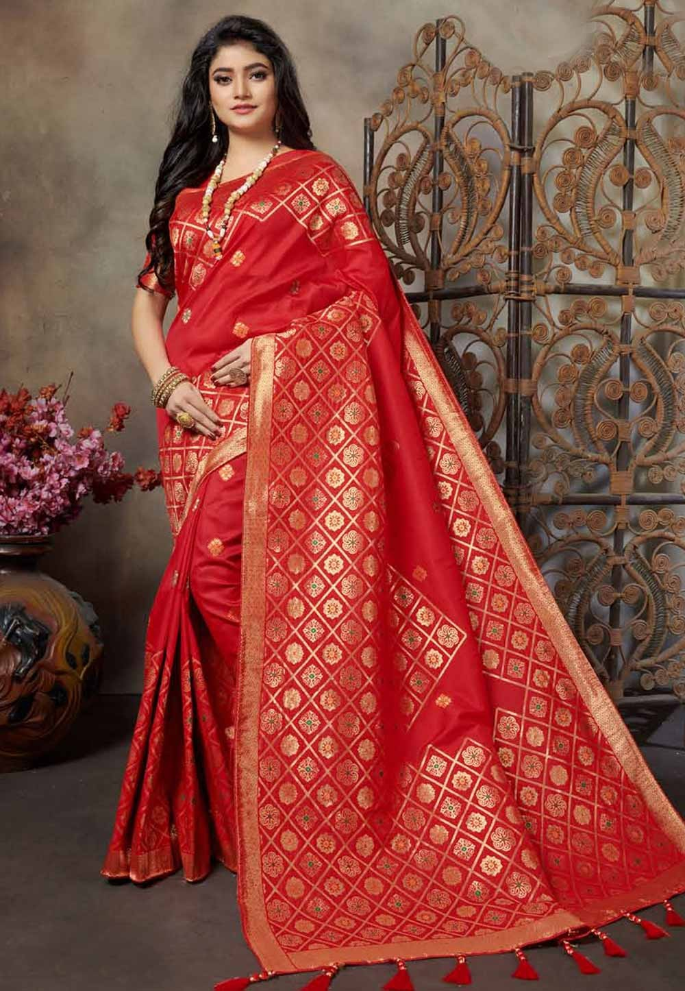 Traditional Saree Red Colour.