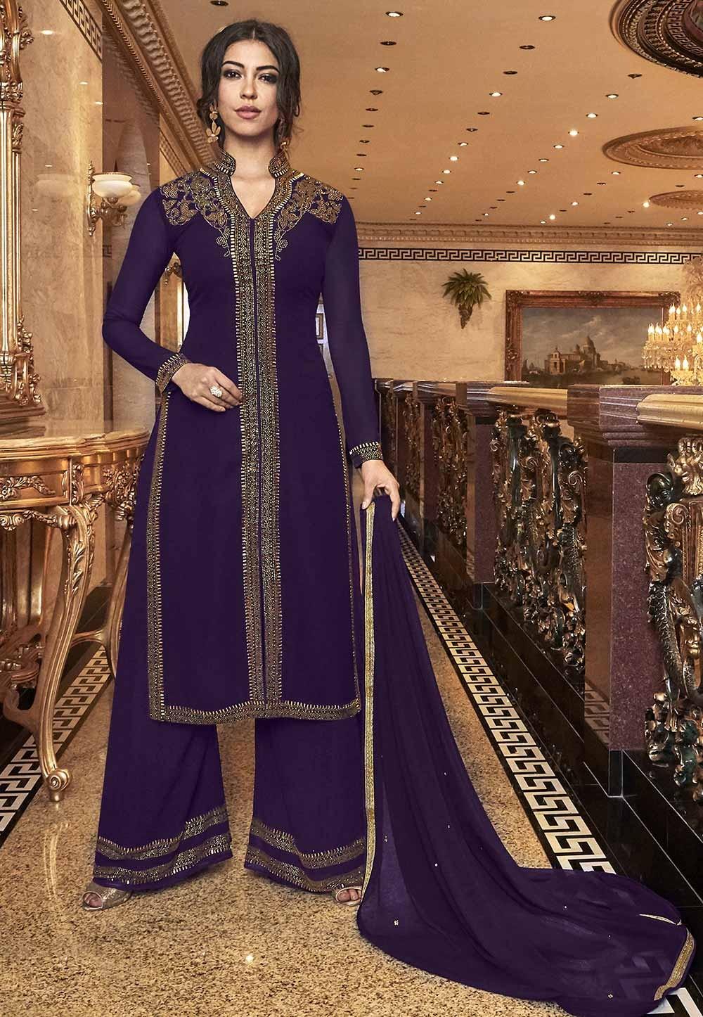 Purple Colour Georgette Salwar Suit.