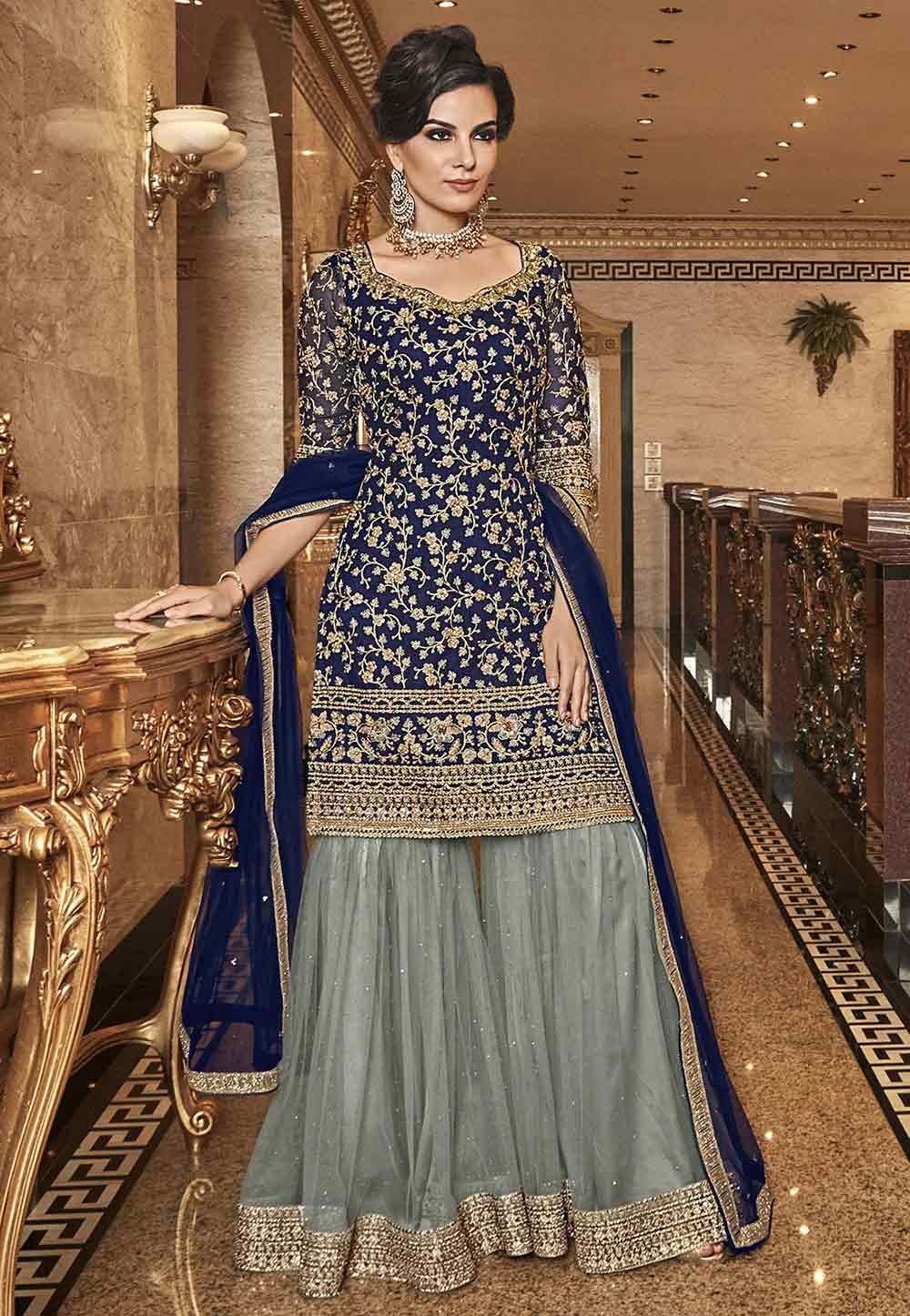 Blue Colour Palazzo Salwar Suit.