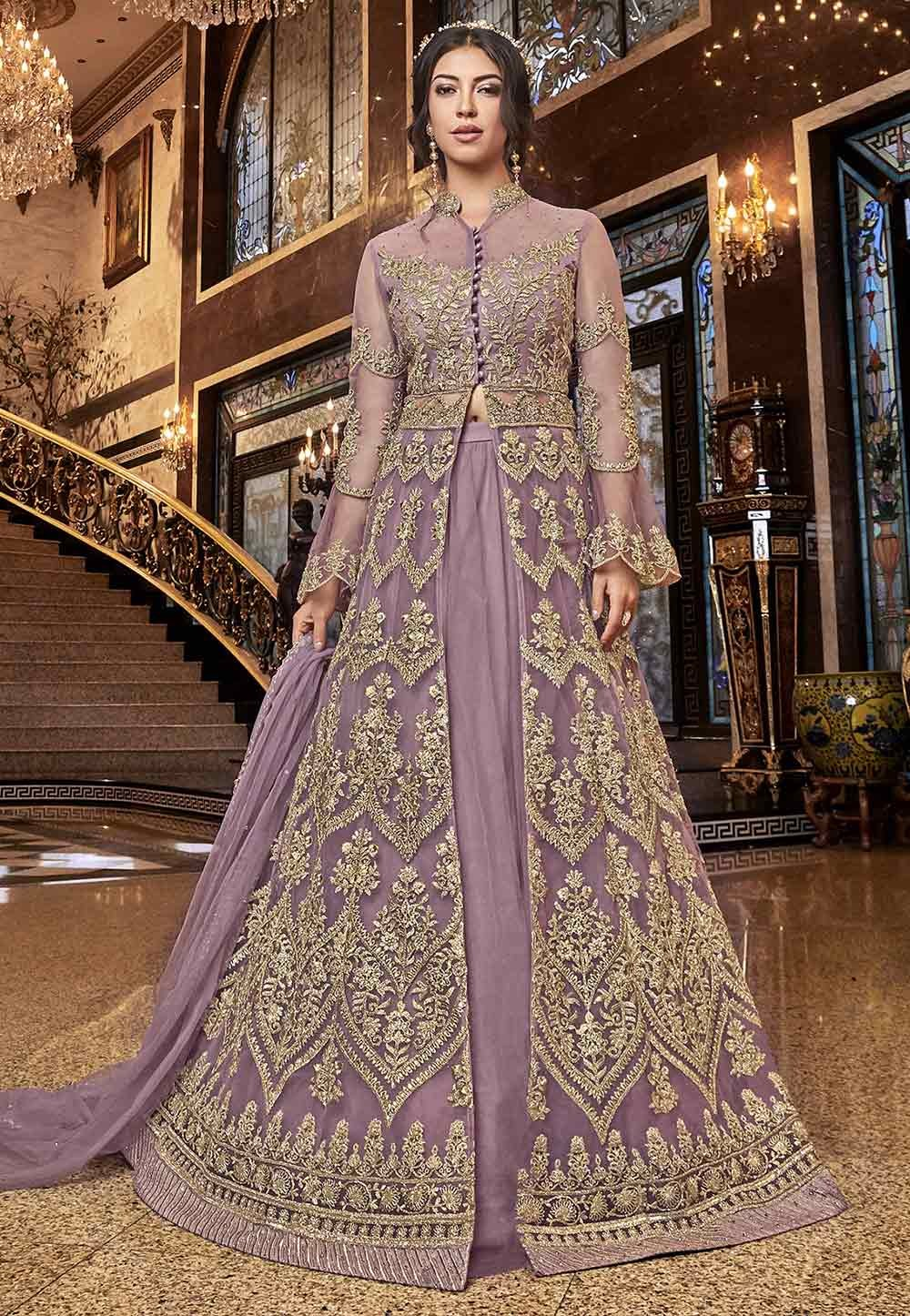 Purple Colour Net Anarkali Salwar Kameez.