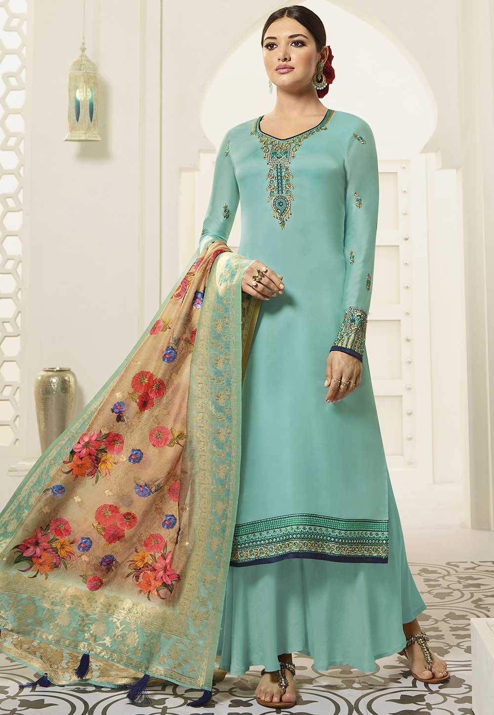 Sky Blue Colour Palazzo Salwar Suit.