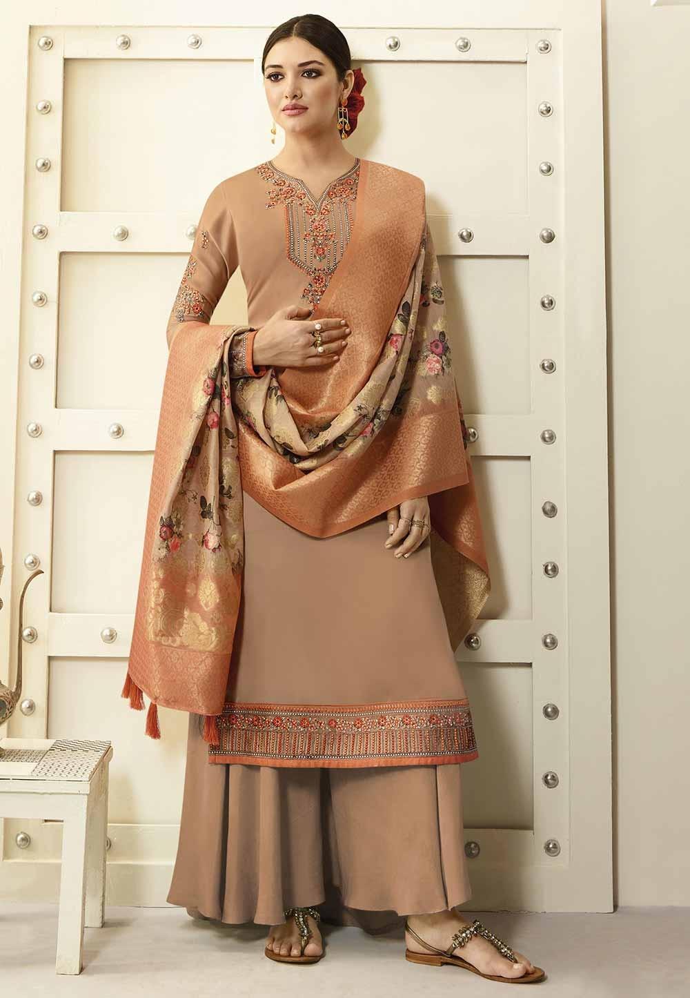 Beige Colour Digital Print Salwar Suit.