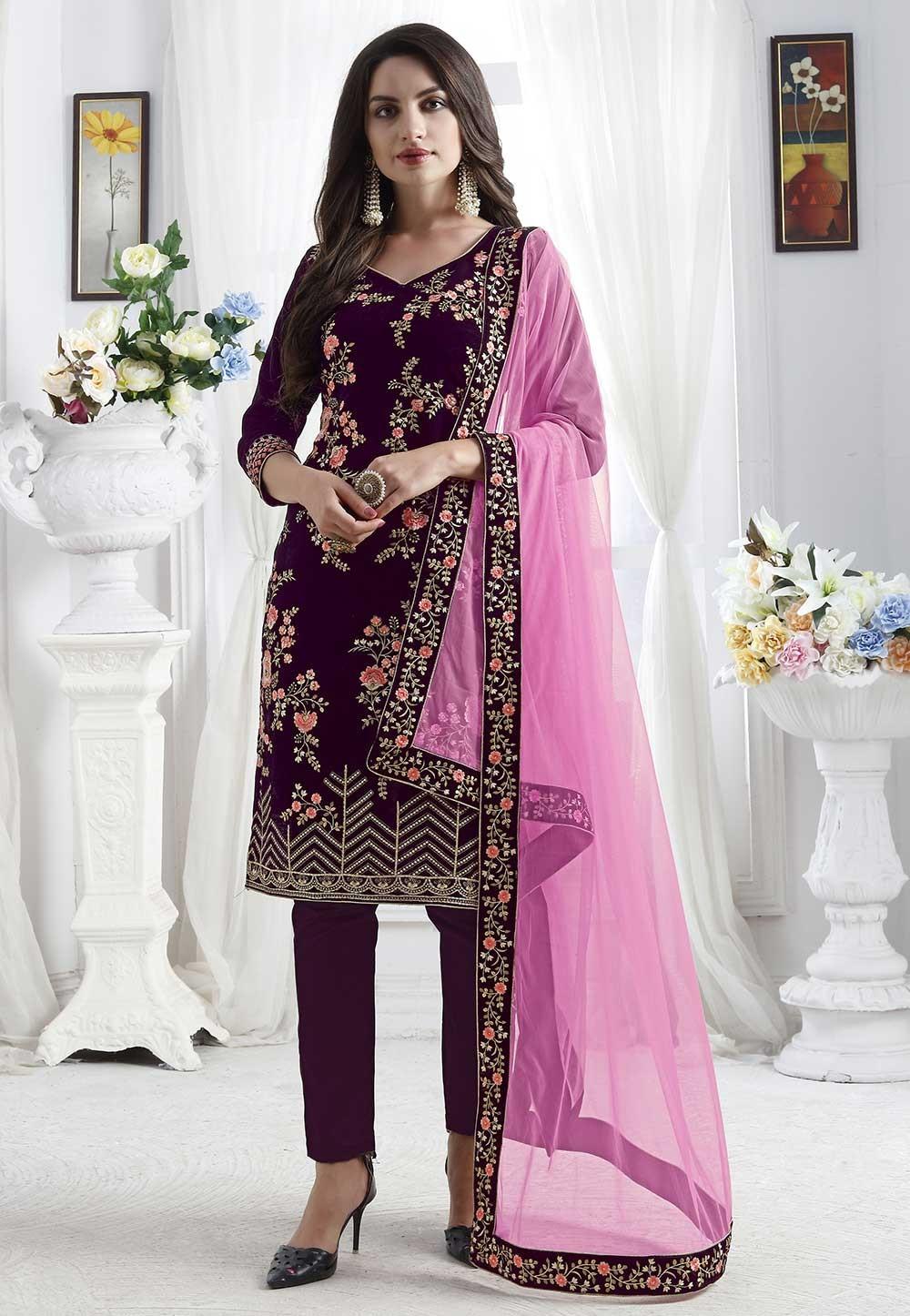 Party Wear Salwar Suit Purple Colour.