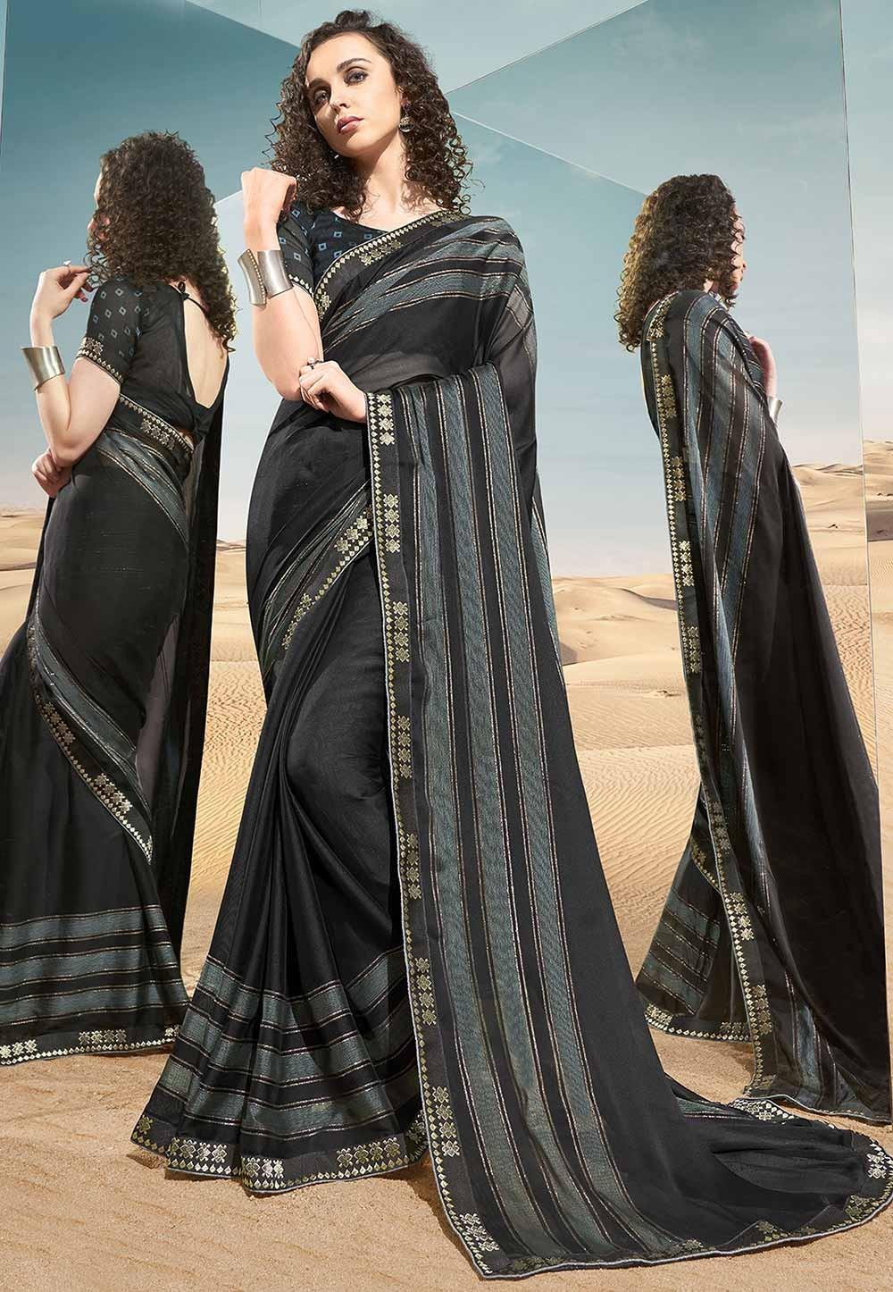 Black Colour Georgette Printed Sari.