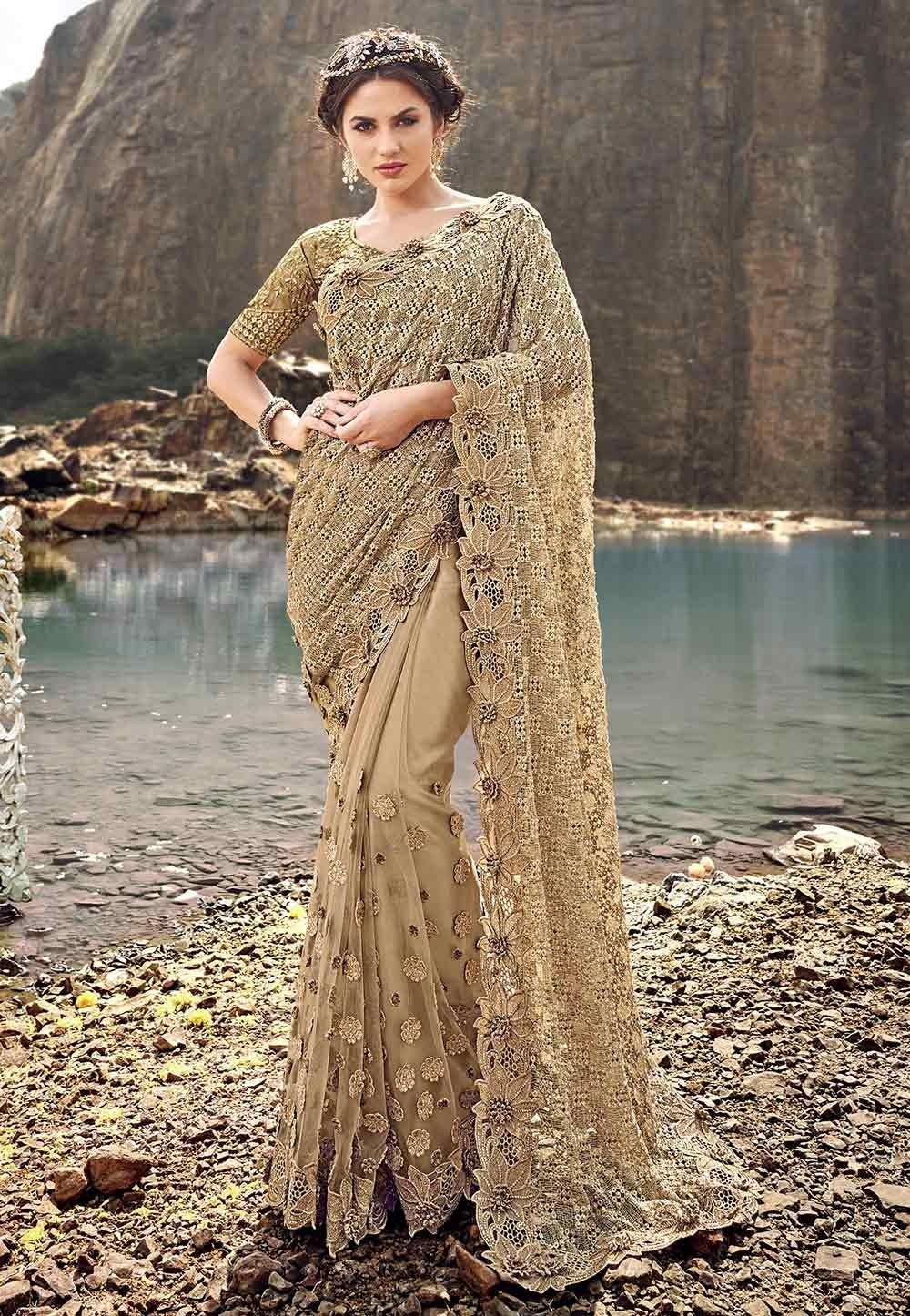 Beige Colour Net Saree.