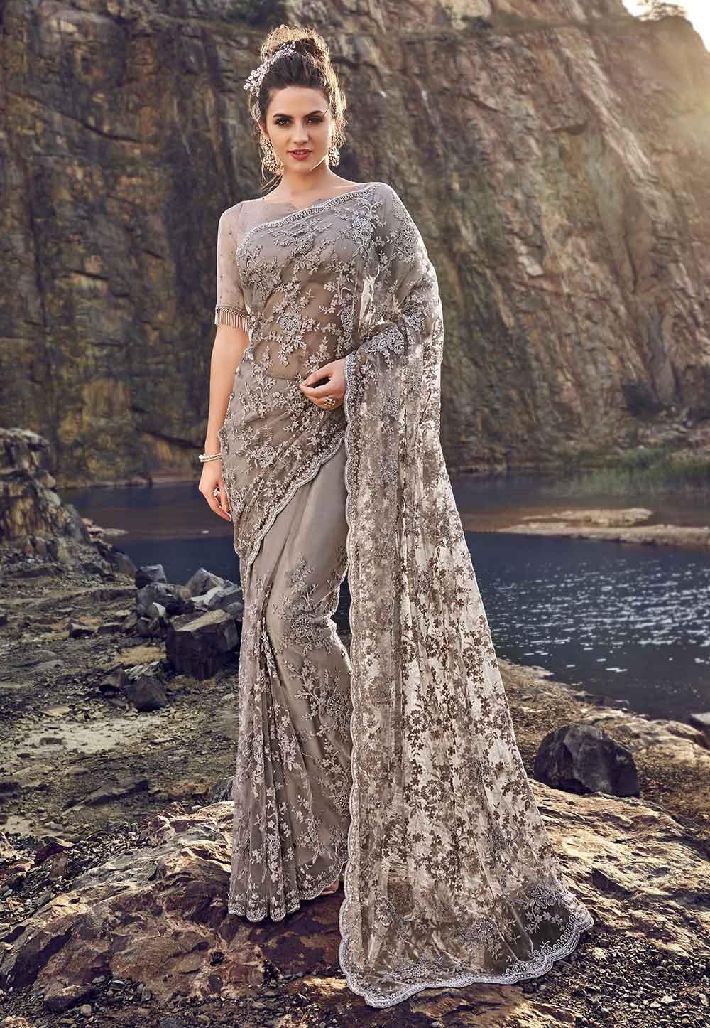 Purple,Grey Colour Designer Saree.