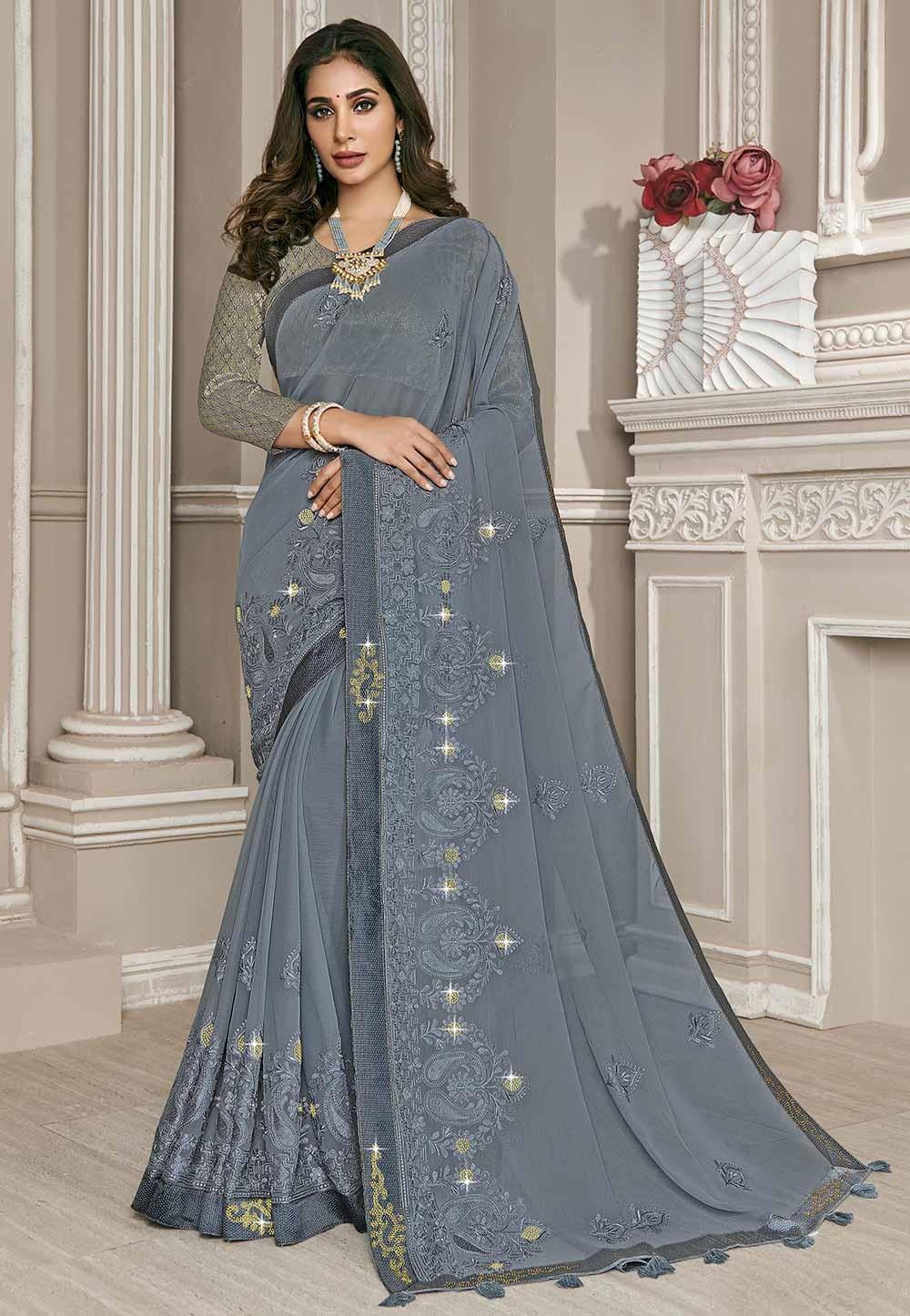 Grey Colour Embroidery Saree.