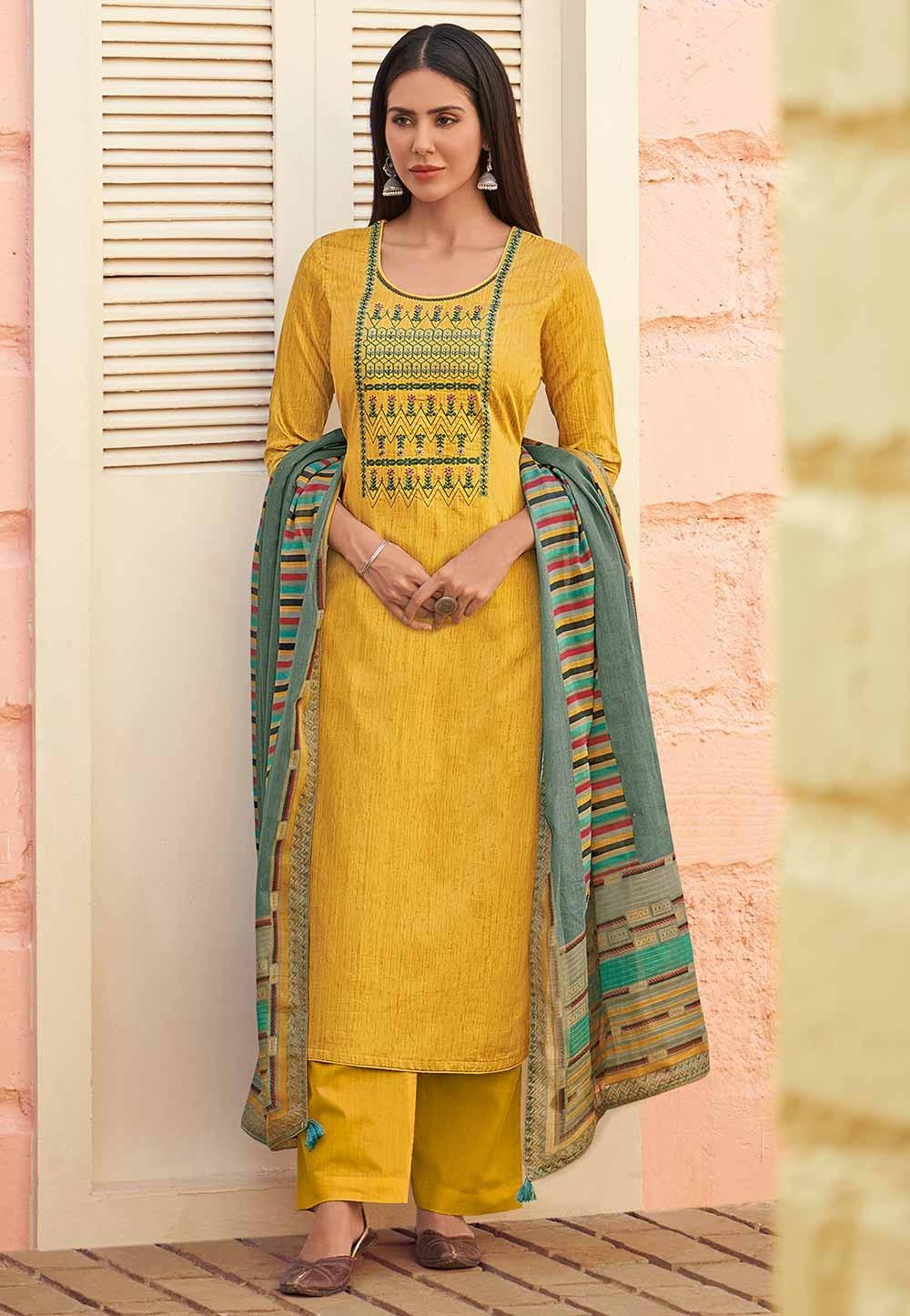 Yellow Colour Cotton Salwar Suit.