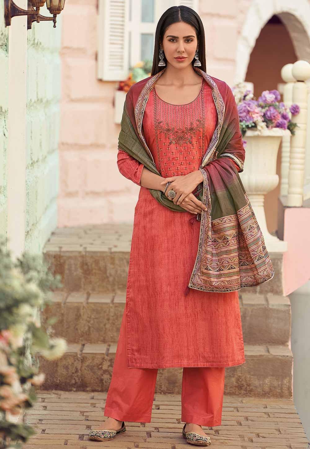 Red Colour Salwar Kameez.