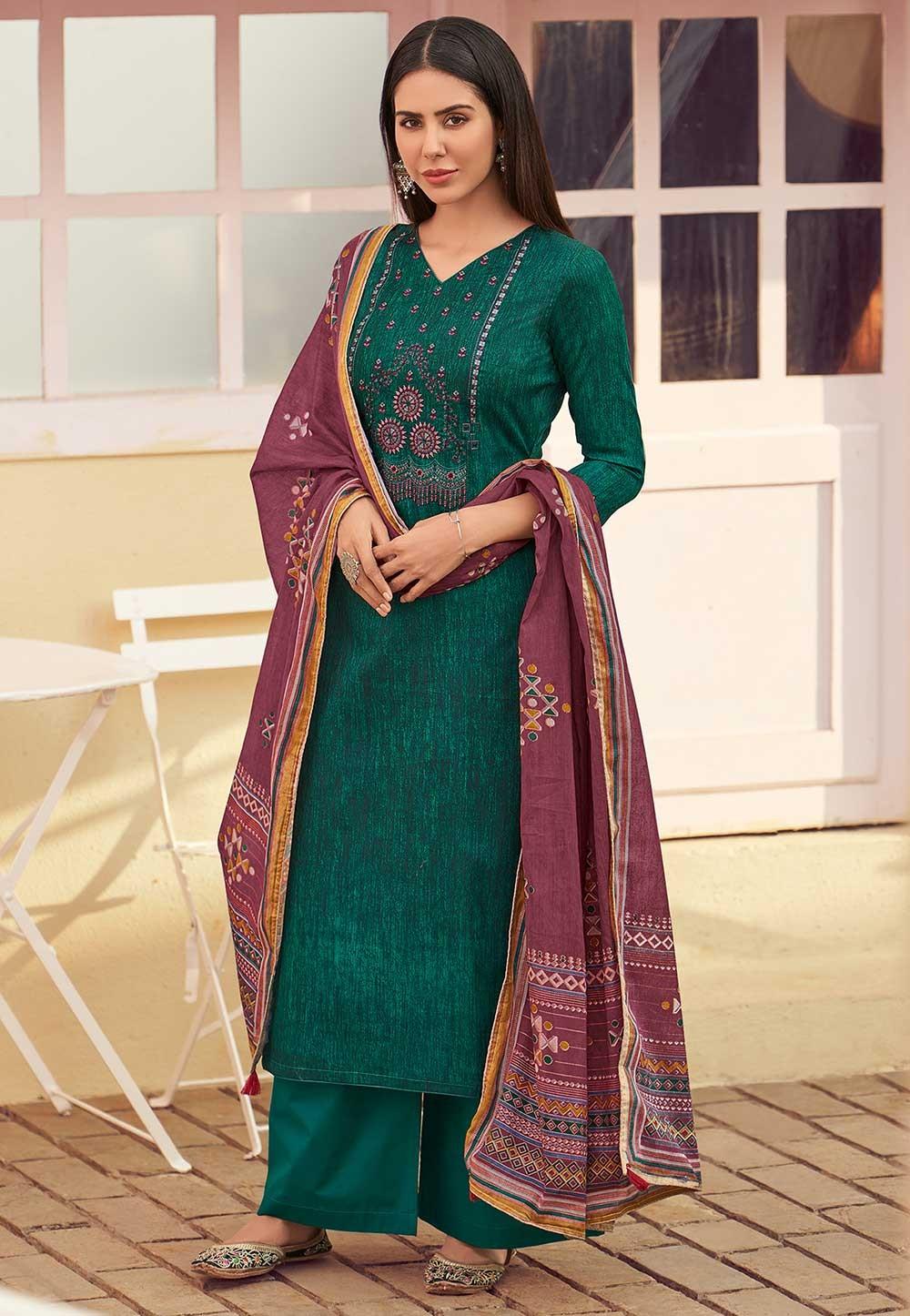 Green Colour Indian Designer Salwar Kameez.