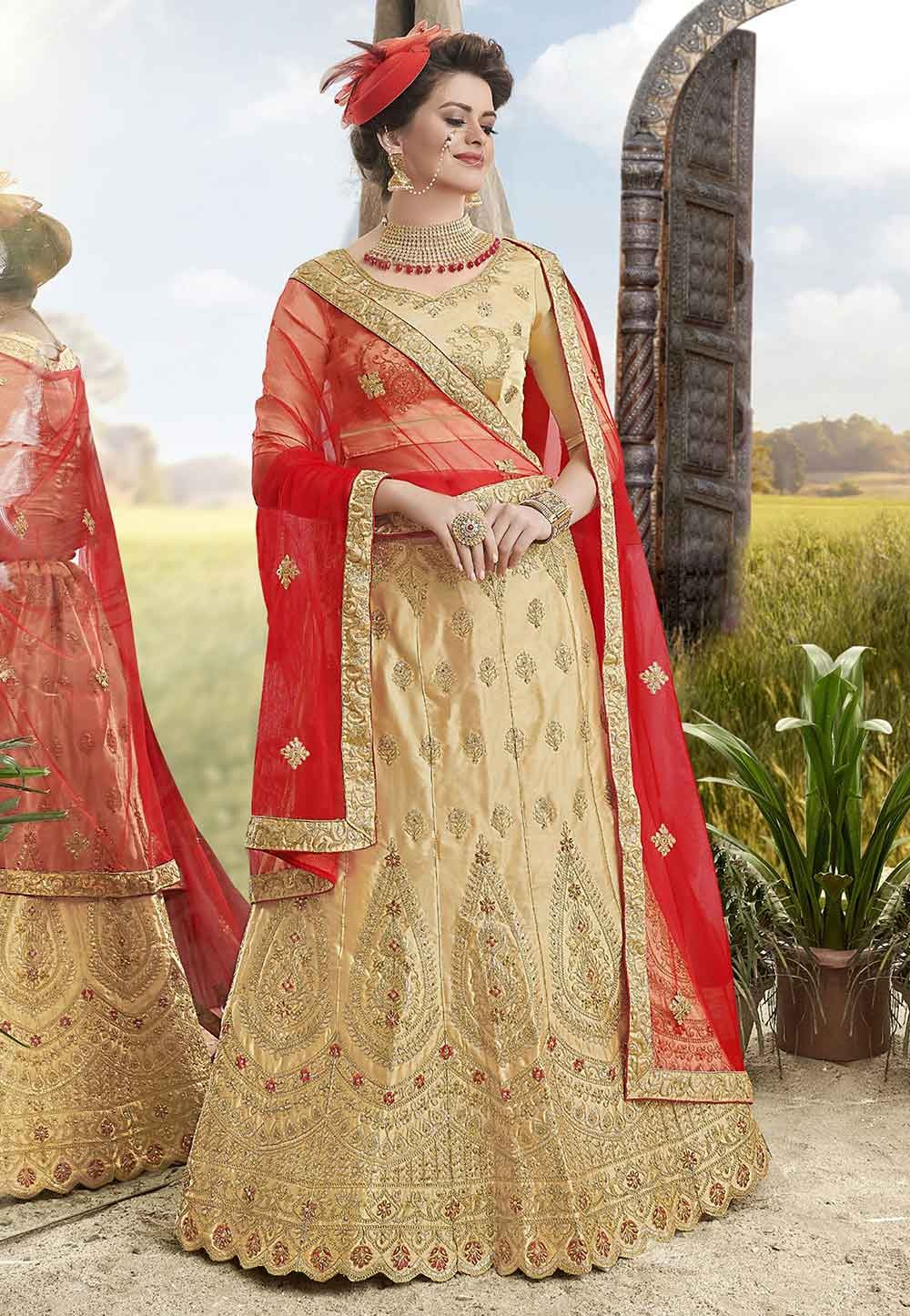 Beige Colour Indian Lehenga Choli.