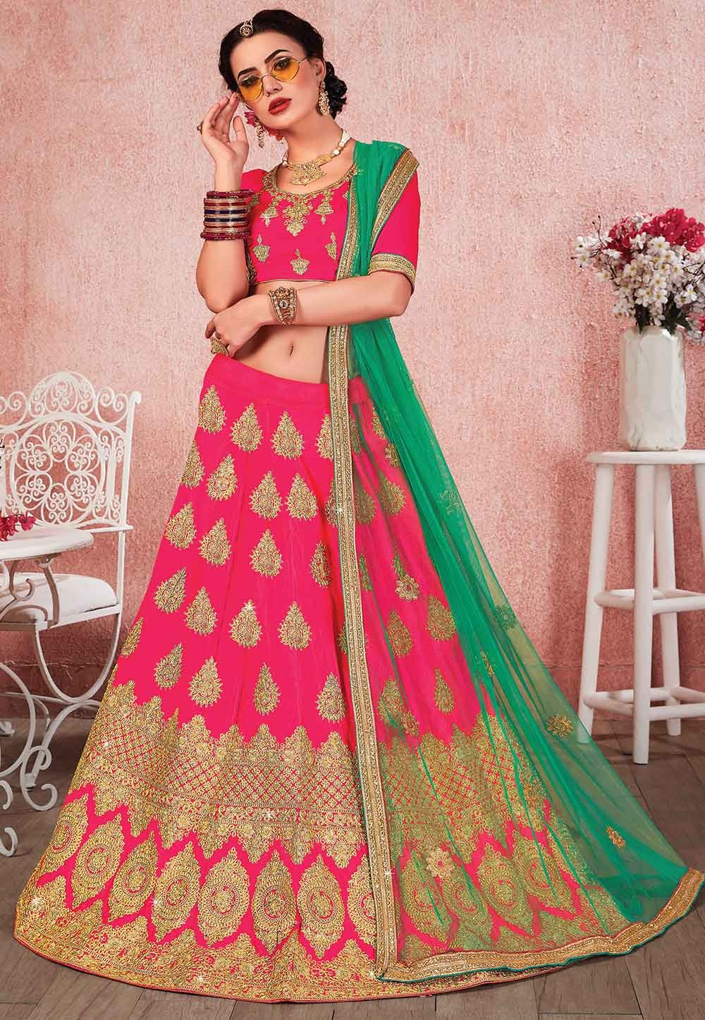 Pink Colour Designer Lehenga Choli.