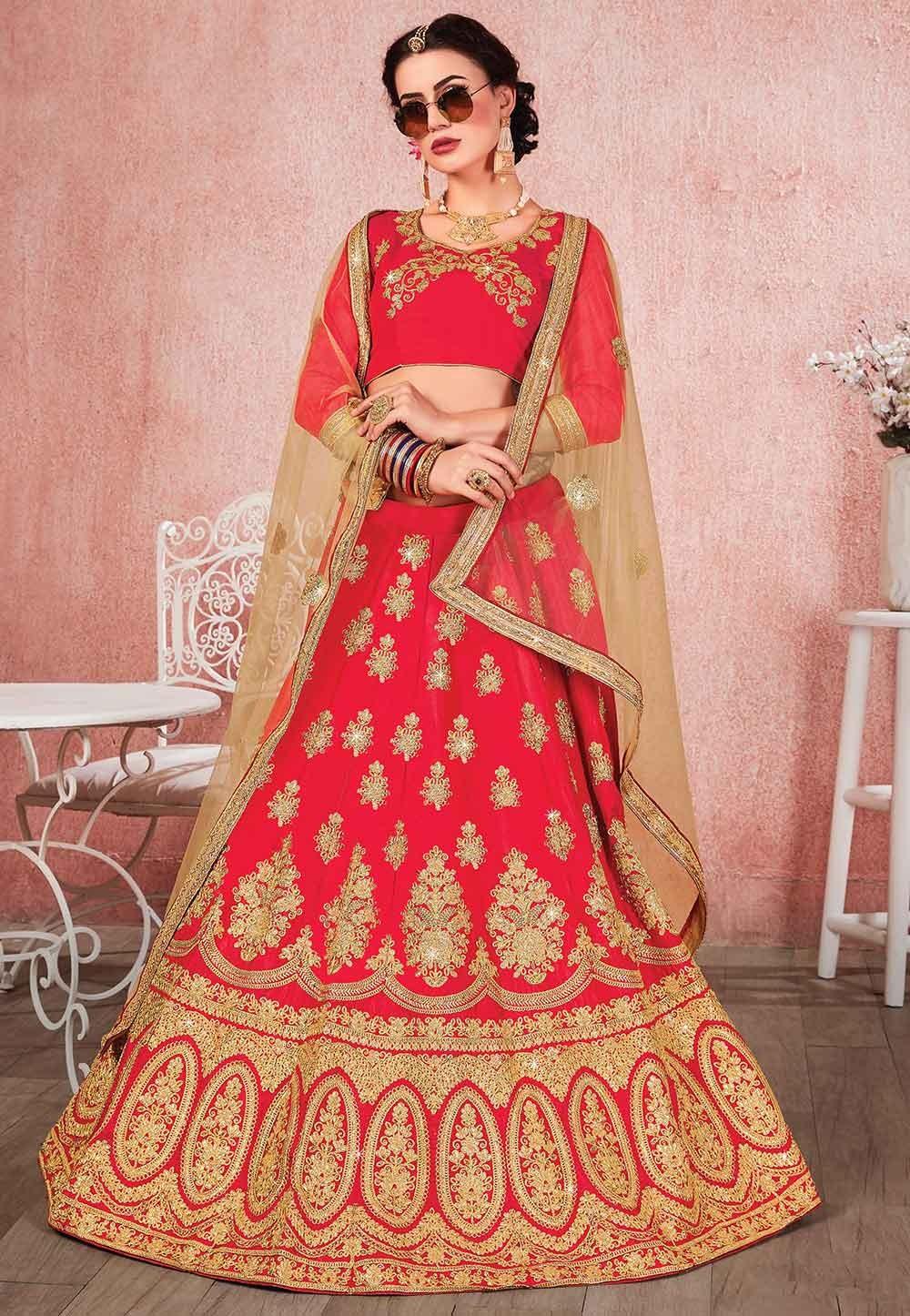 Red Colour Embroidered Lehenga Choli.