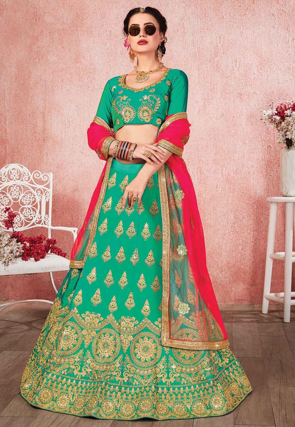 Green Colour Silk Designer Lehenga.