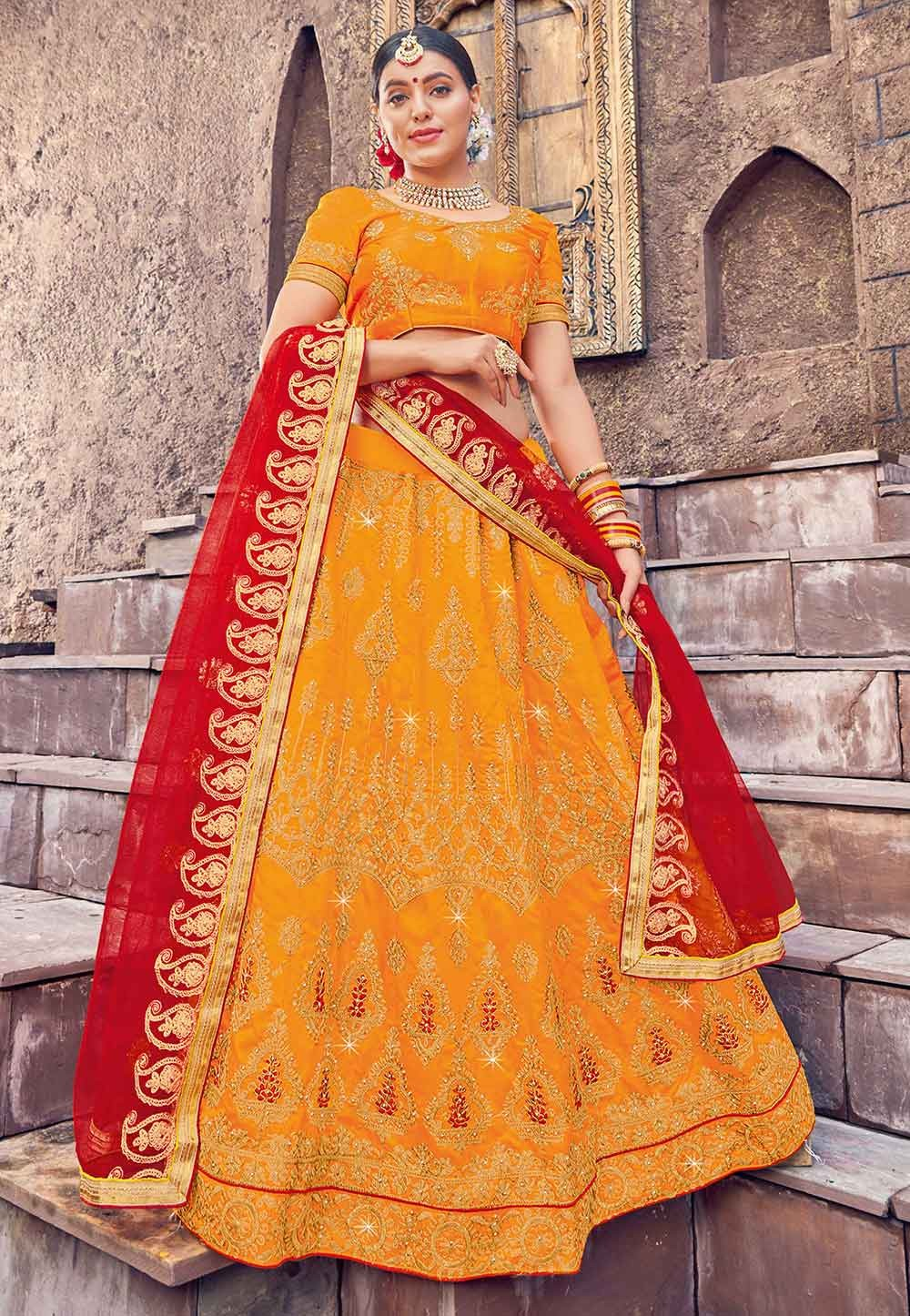 Orange Colour Indian Traditional Lehenga.