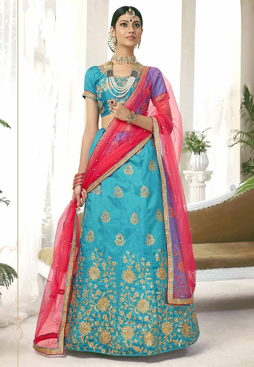 Turquoise Colour Lehenga Choli.
