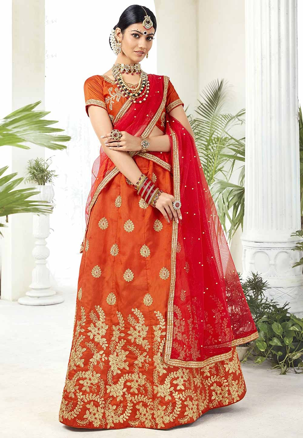 Orange Colour Traditional Lehenga Choli.