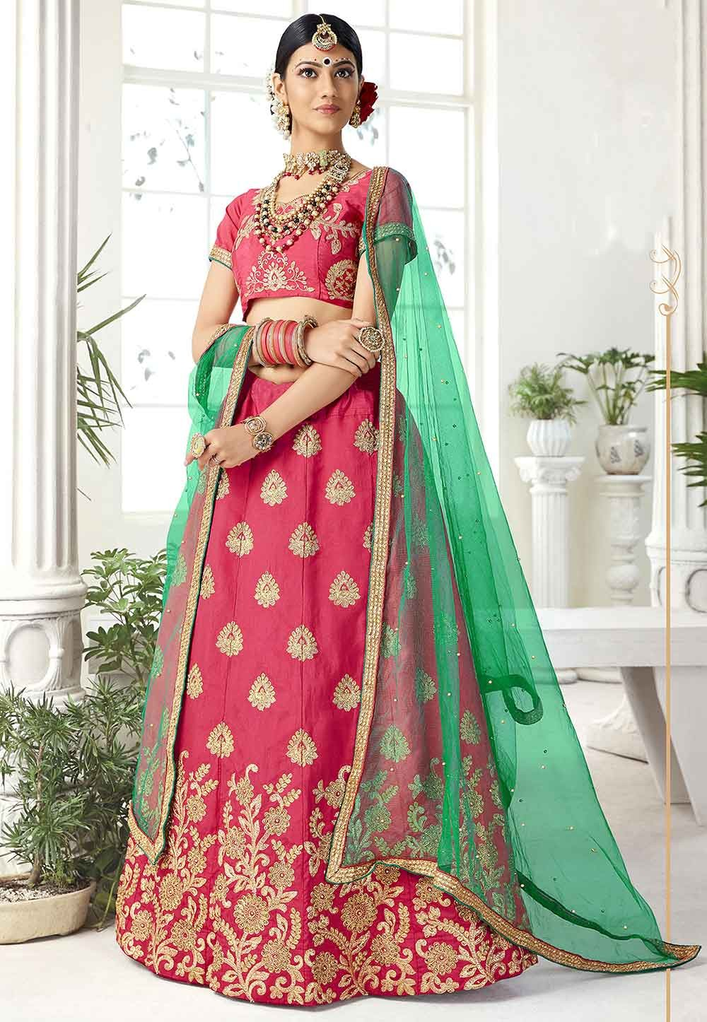 Pink Colour Designer Lehenga Choli.