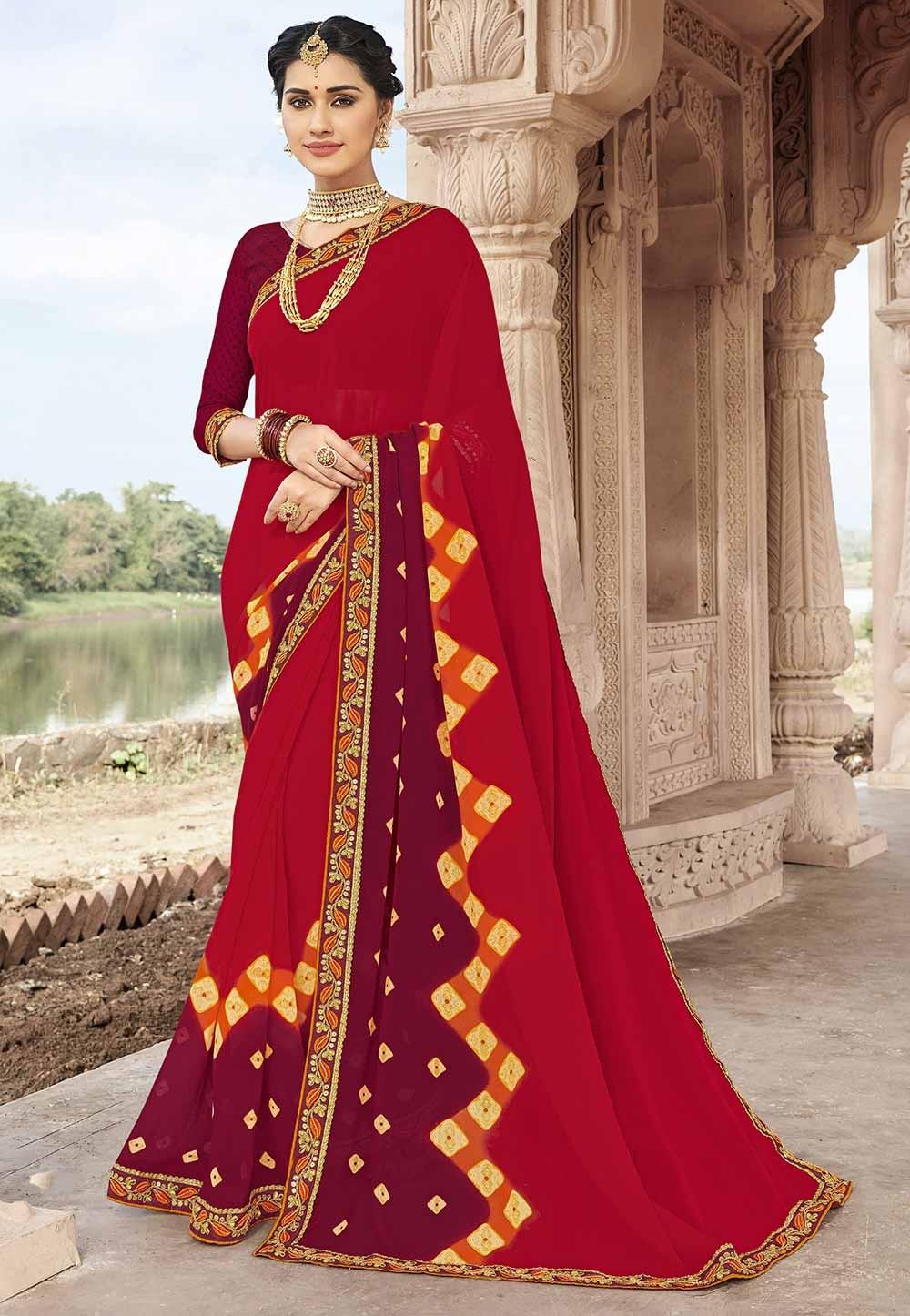 Red Colour Traditional Sari.