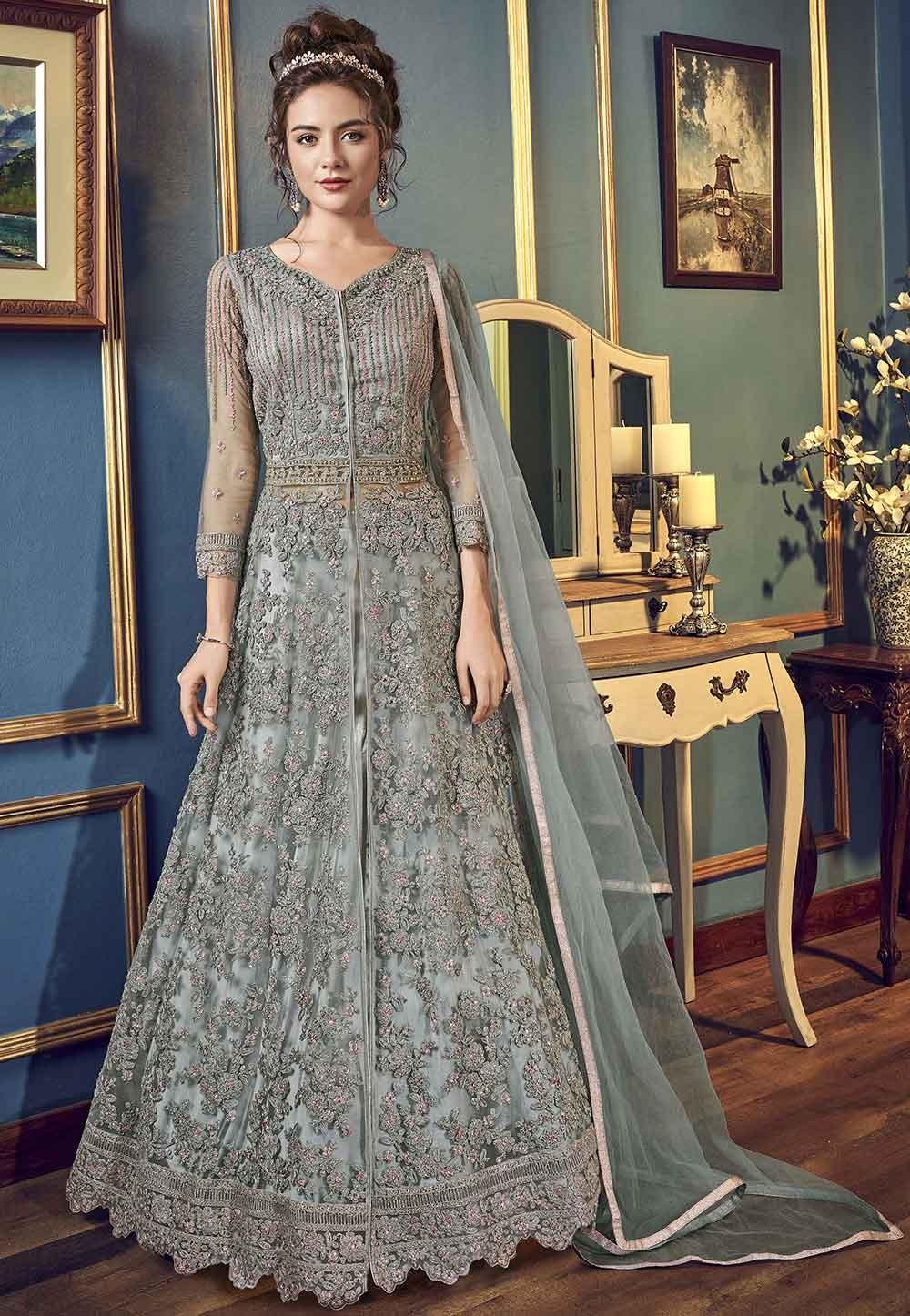 Grey Colour Net Anarkali Salwar Suit.