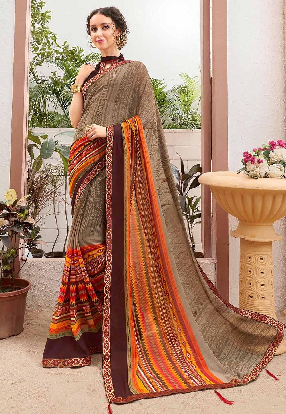 Brown Colour Georgette Sari.