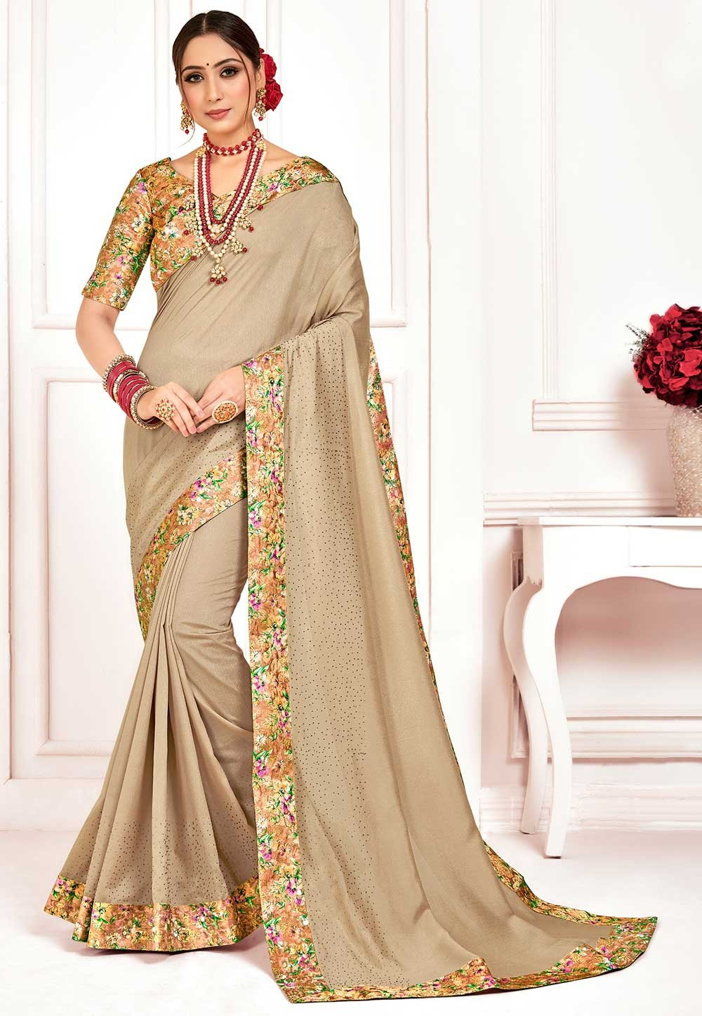 Beige Colour Silk Printed Saree.