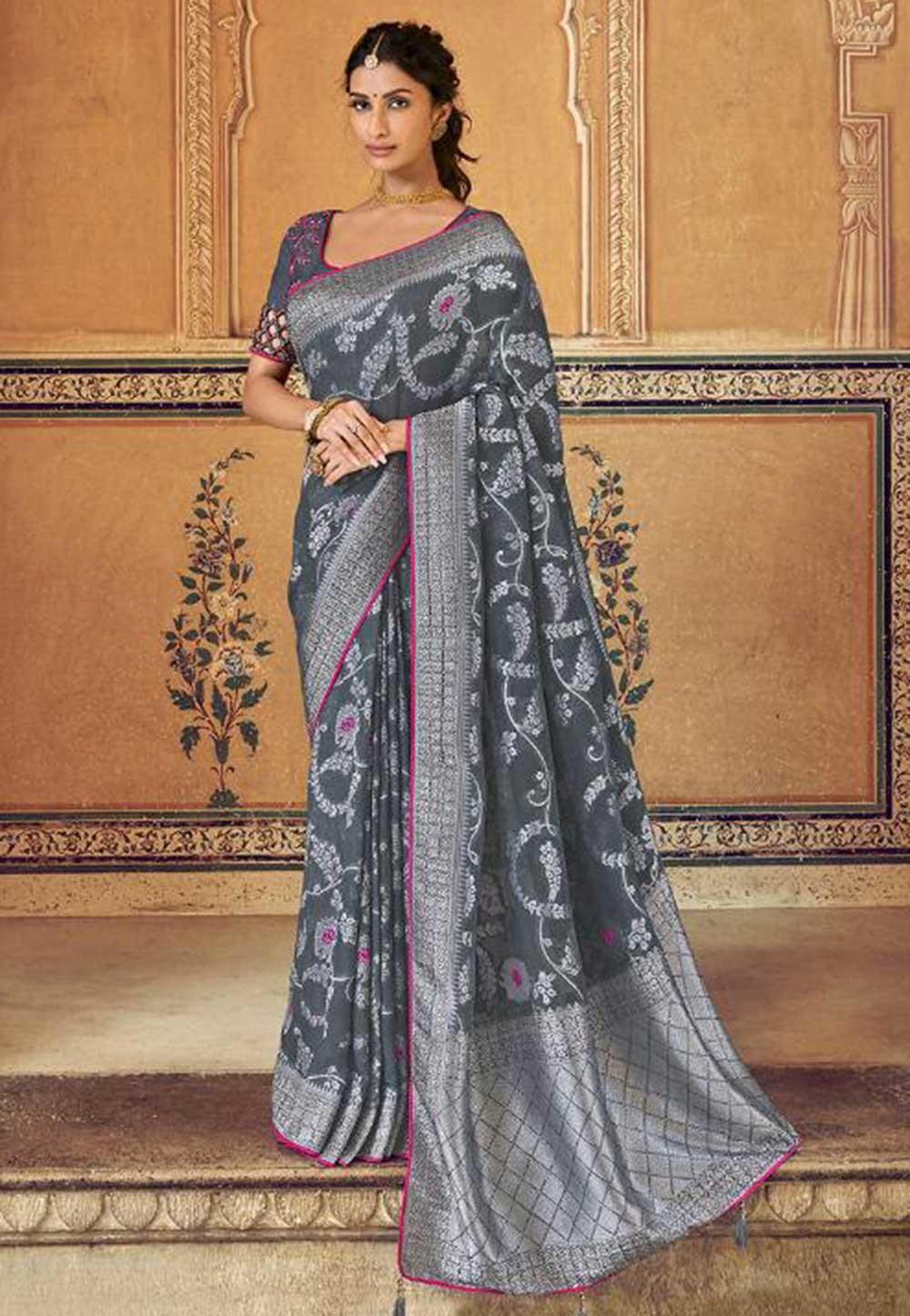 Banarasi Silk Saree Green Colour.