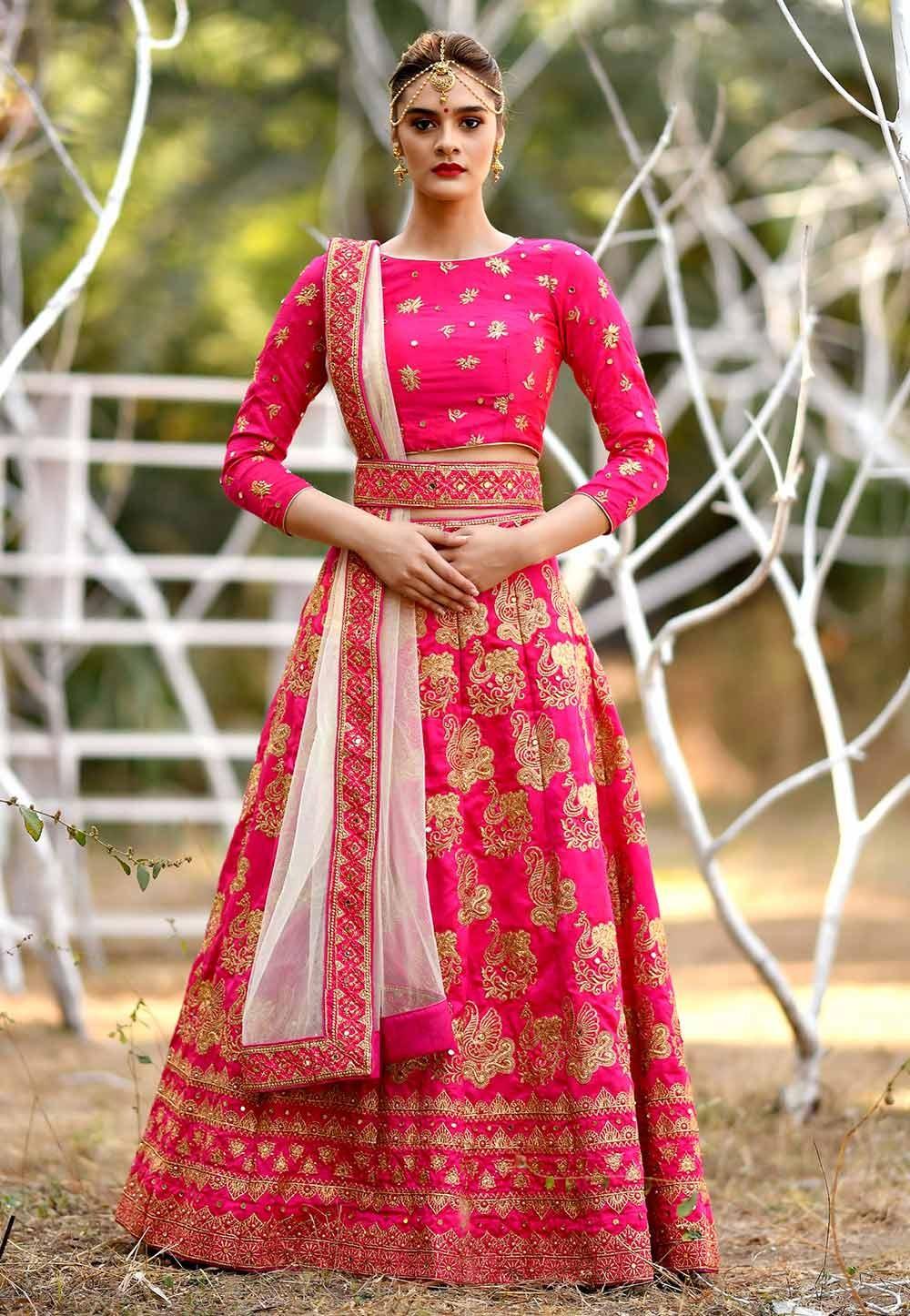 Pink Colour Indian Wedding Lehenga Choli.