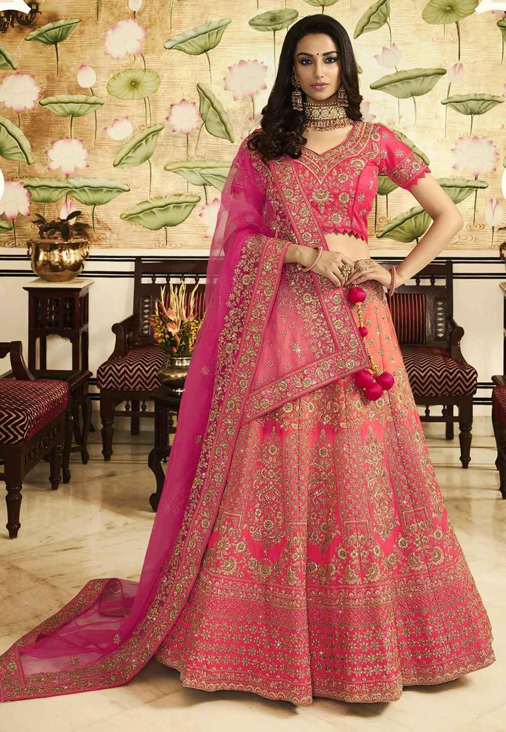 Pink Colour Bridal Lehenga Choli.