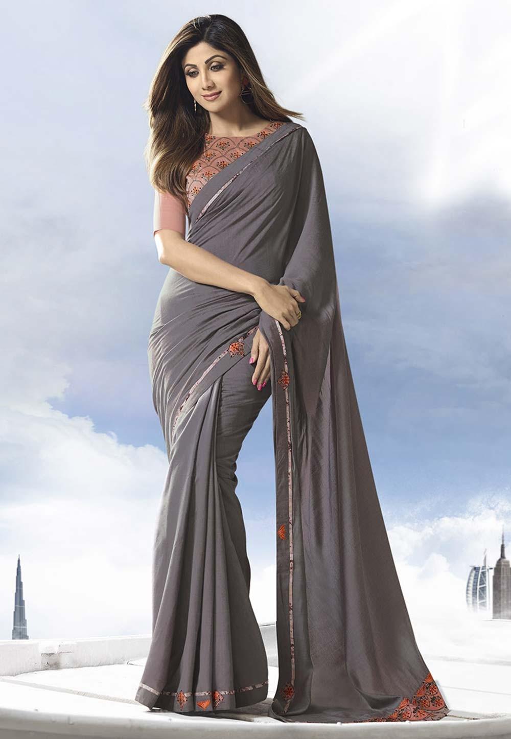 Grey Colour Satin,Silk Saree.