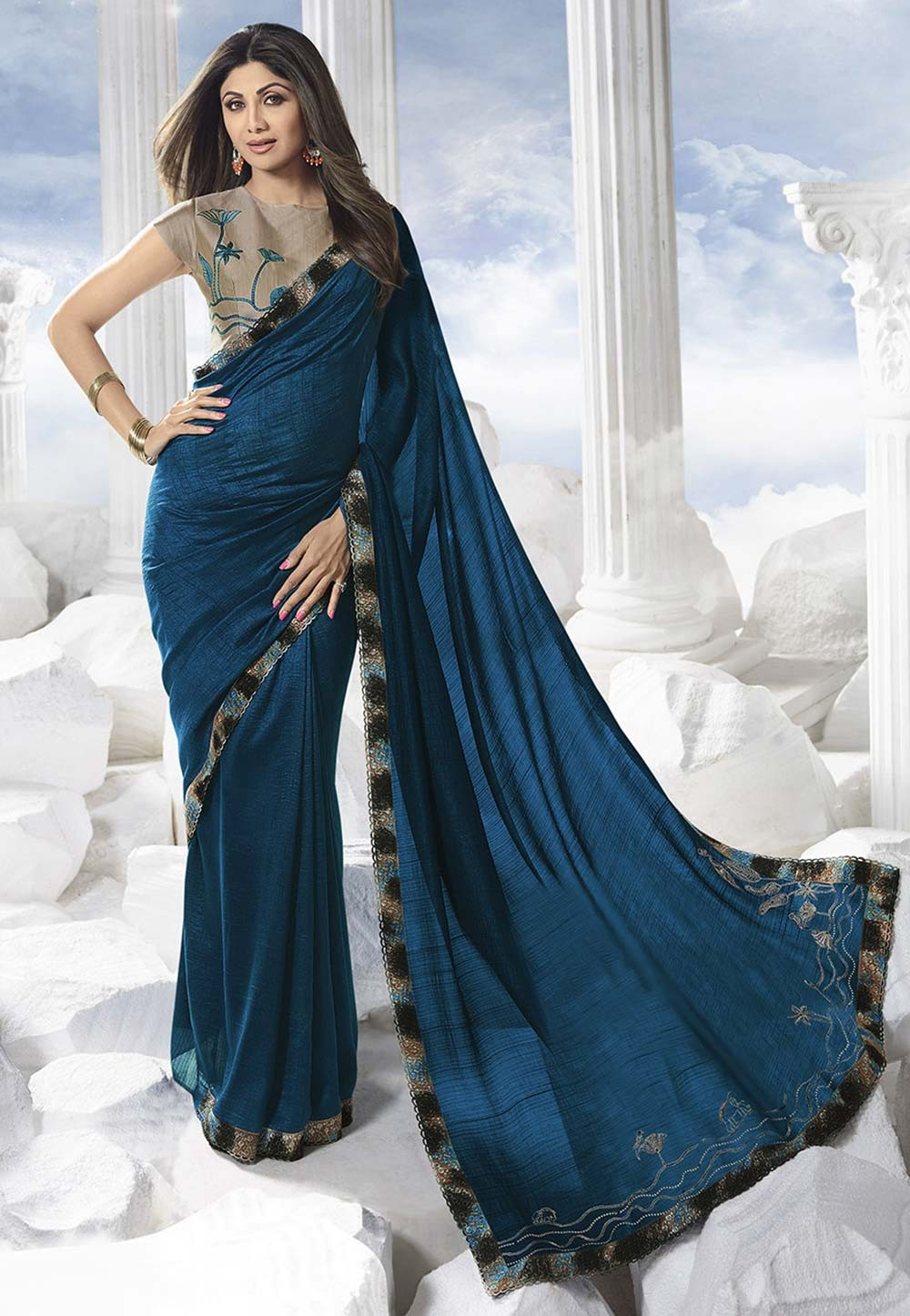 Teal Blue Colour Designer Saree.