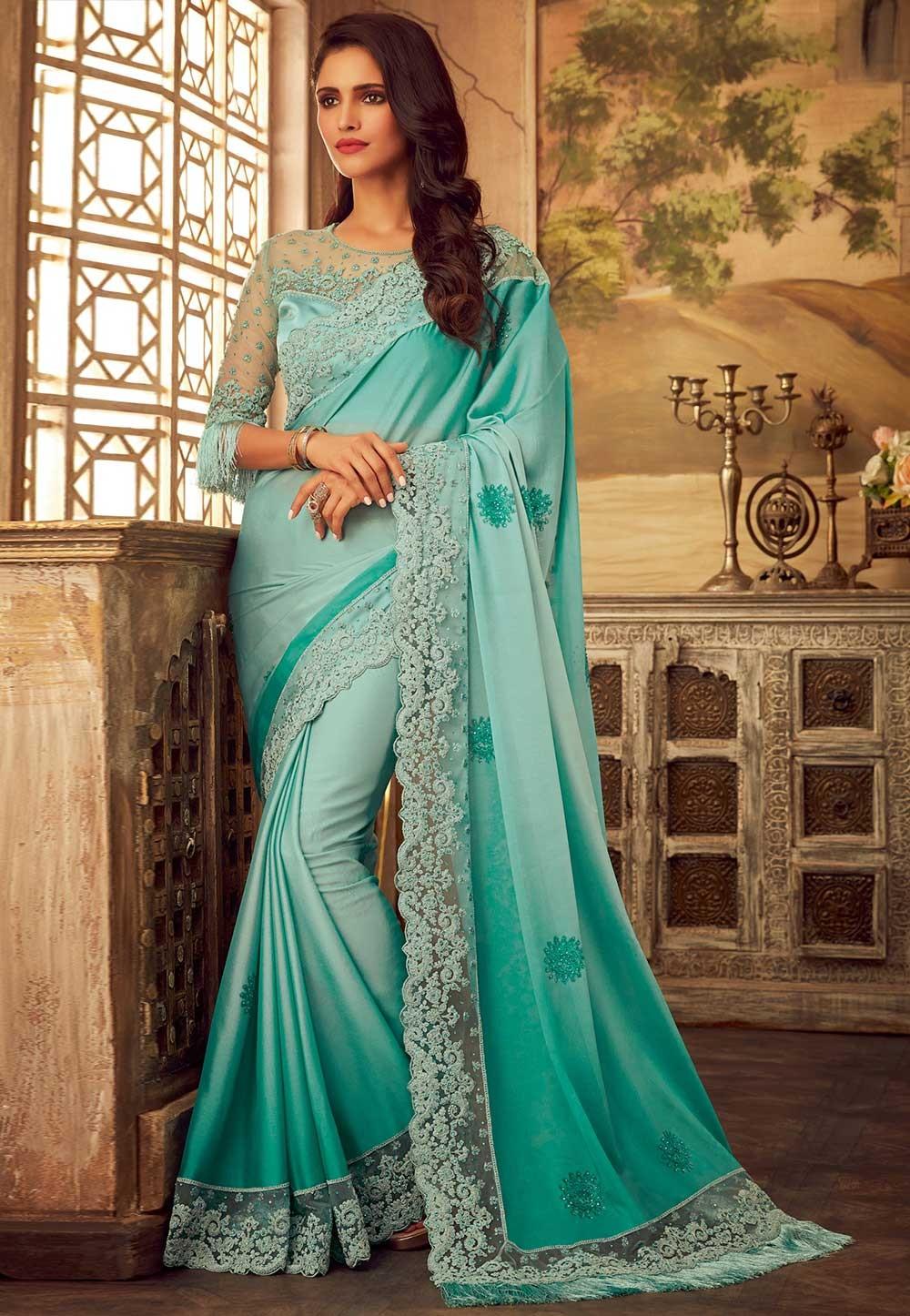Sea Green Colour Silk Sari.