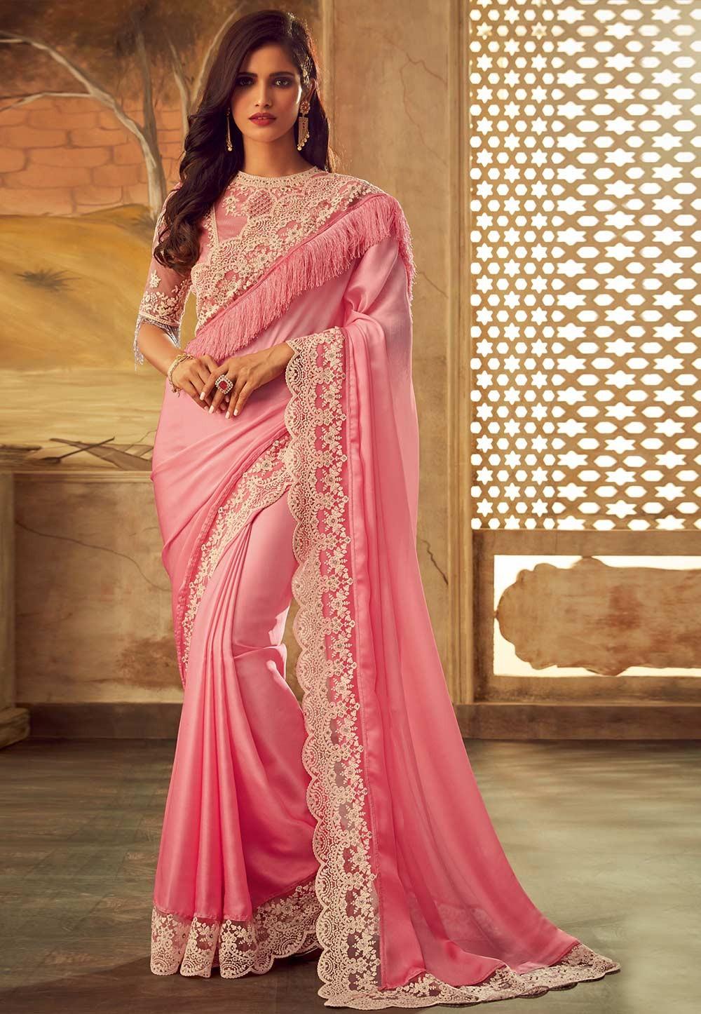 Light Pink Colour Designer Sari.
