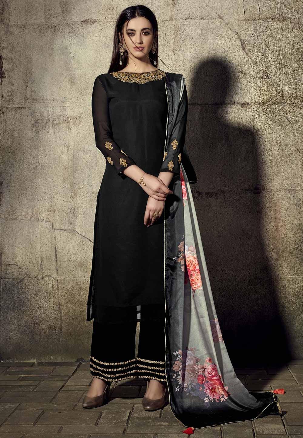 Georgette Salwar Suit Black Colour.