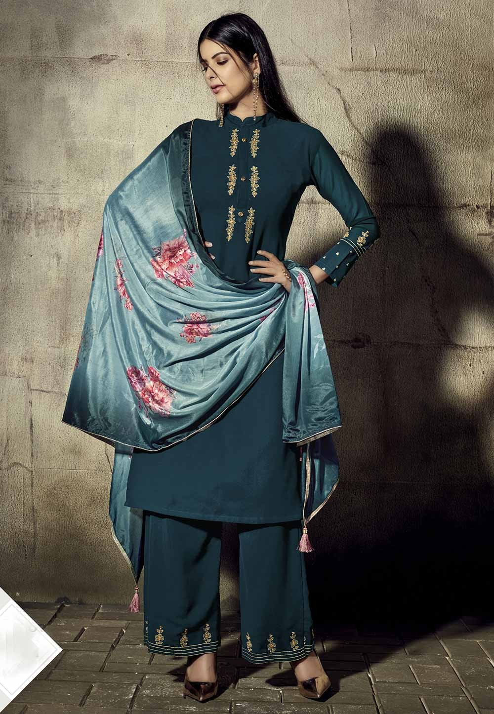 Teal Blue Colour Women Salwar Kameez.