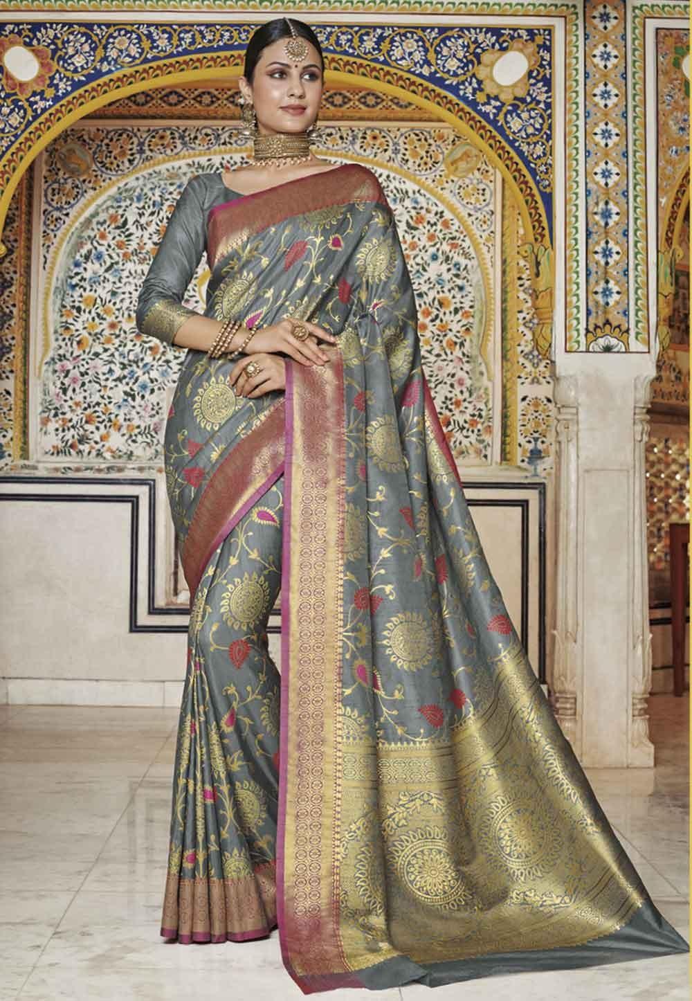 Grey Colour Silk Sari.