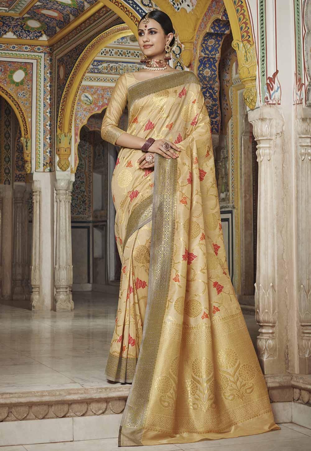 Golden Colour Silk Weaving Saree.