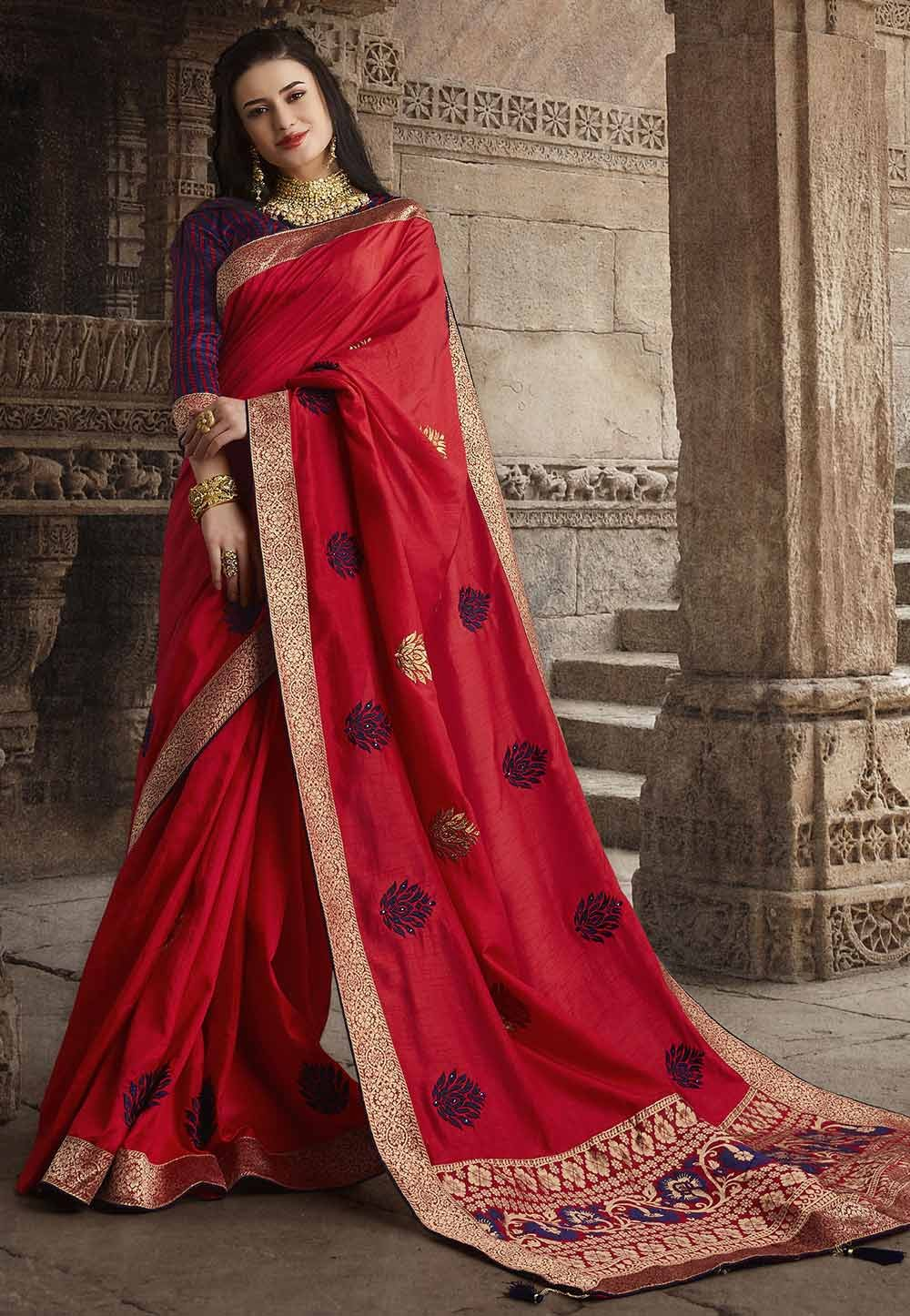 Red Colour Silk Wedding Sari.