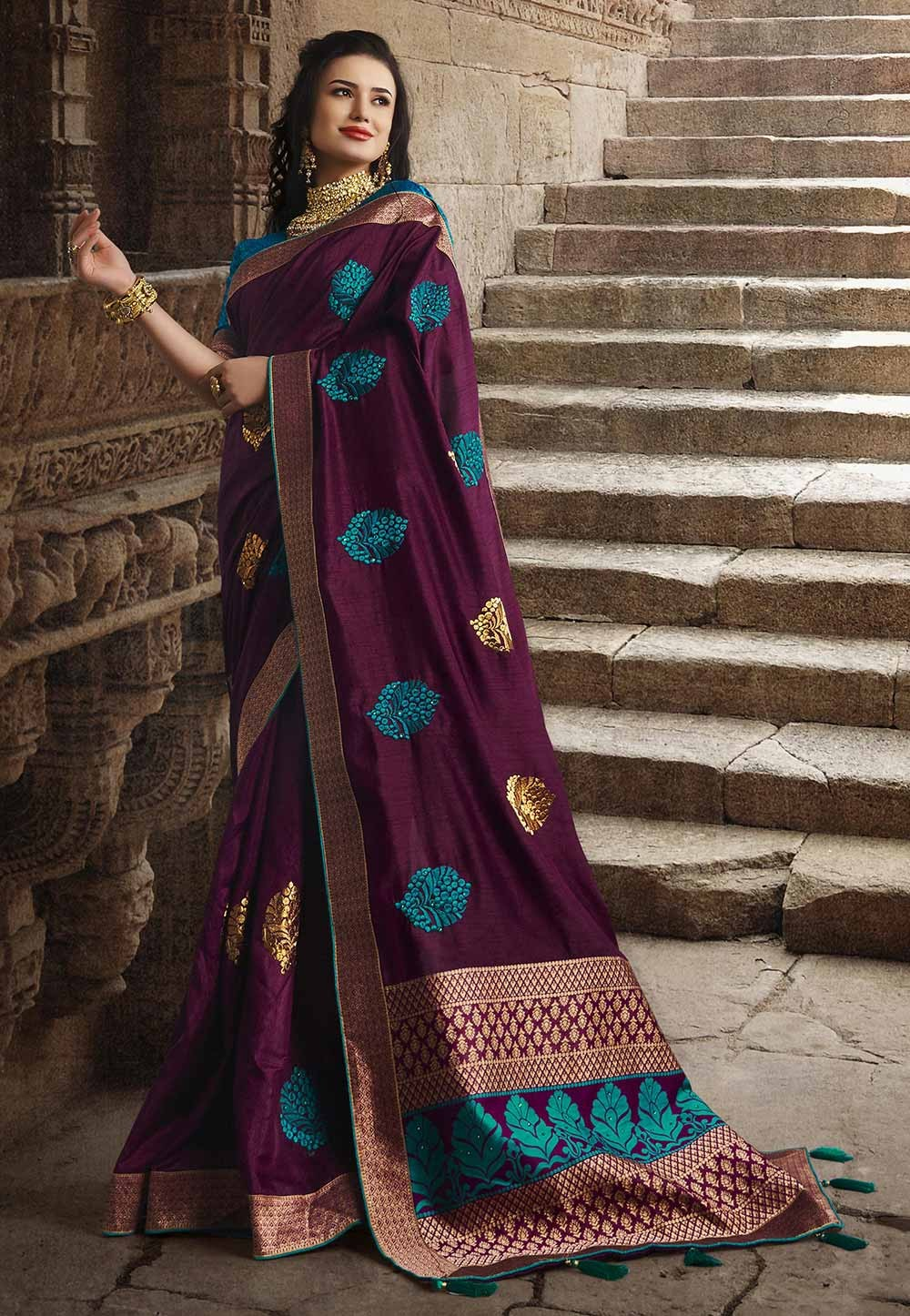 Dola Silk Party Wear Sari Wine Colour.