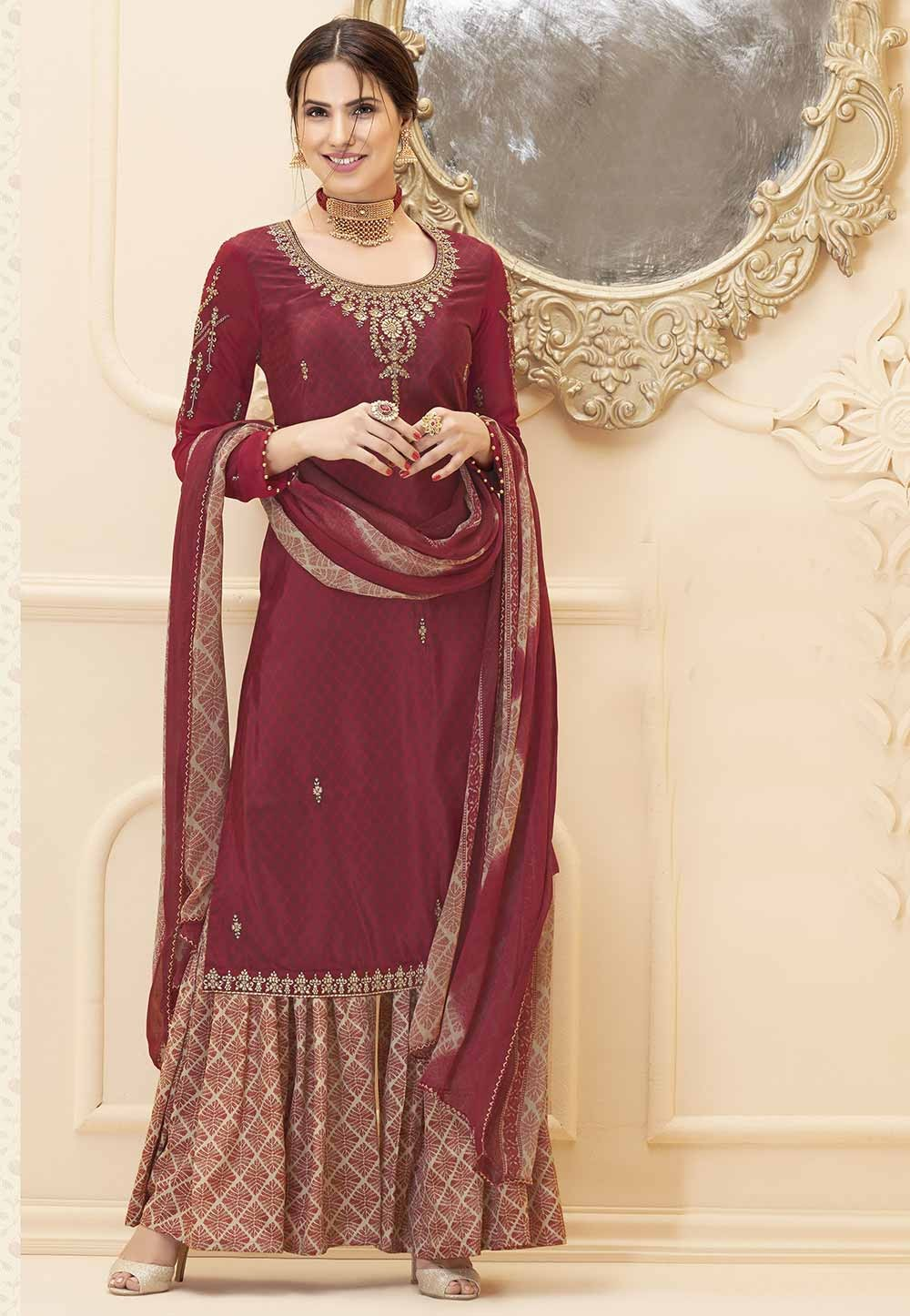 Maroon Colour Sharara Salwar Suit.